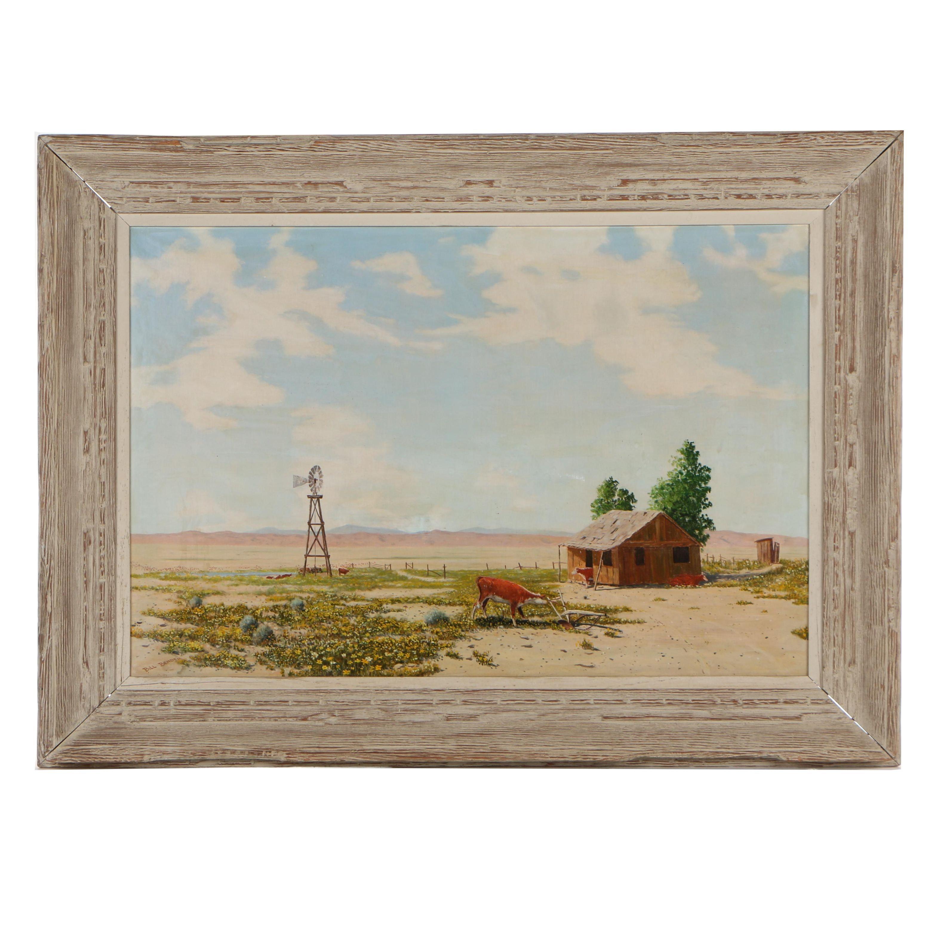 Bill Bender Mid Century Oil on Canvas Rural Landscape