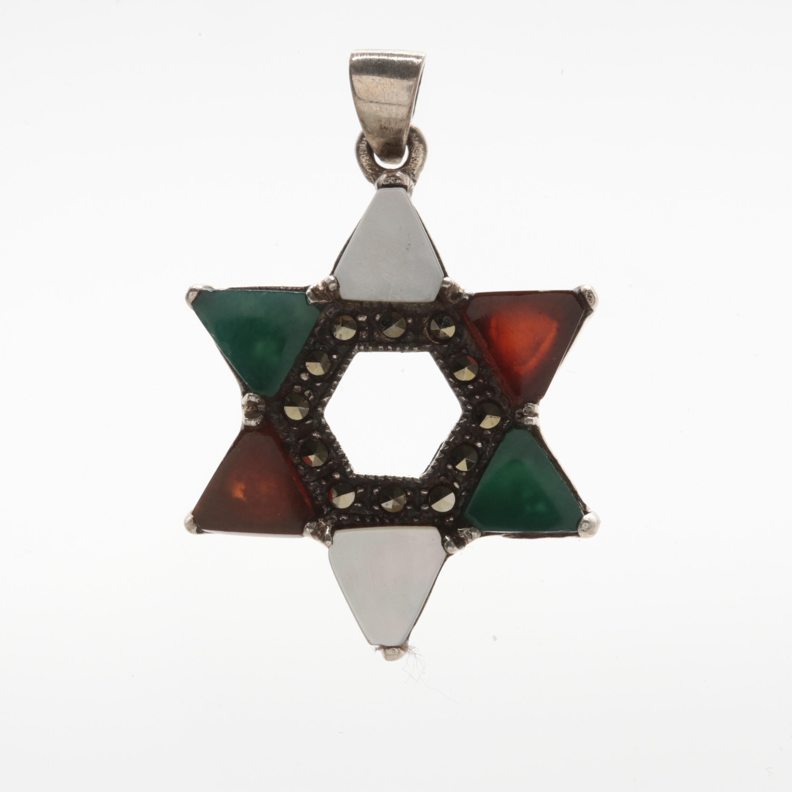 Sterling Silver and Mother of Pearl, Carnelian, and Chalcedony Star Pendant
