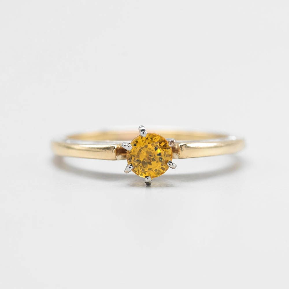18K Yellow Gold Yellow Sapphire Ring with 14K White Gold Accents