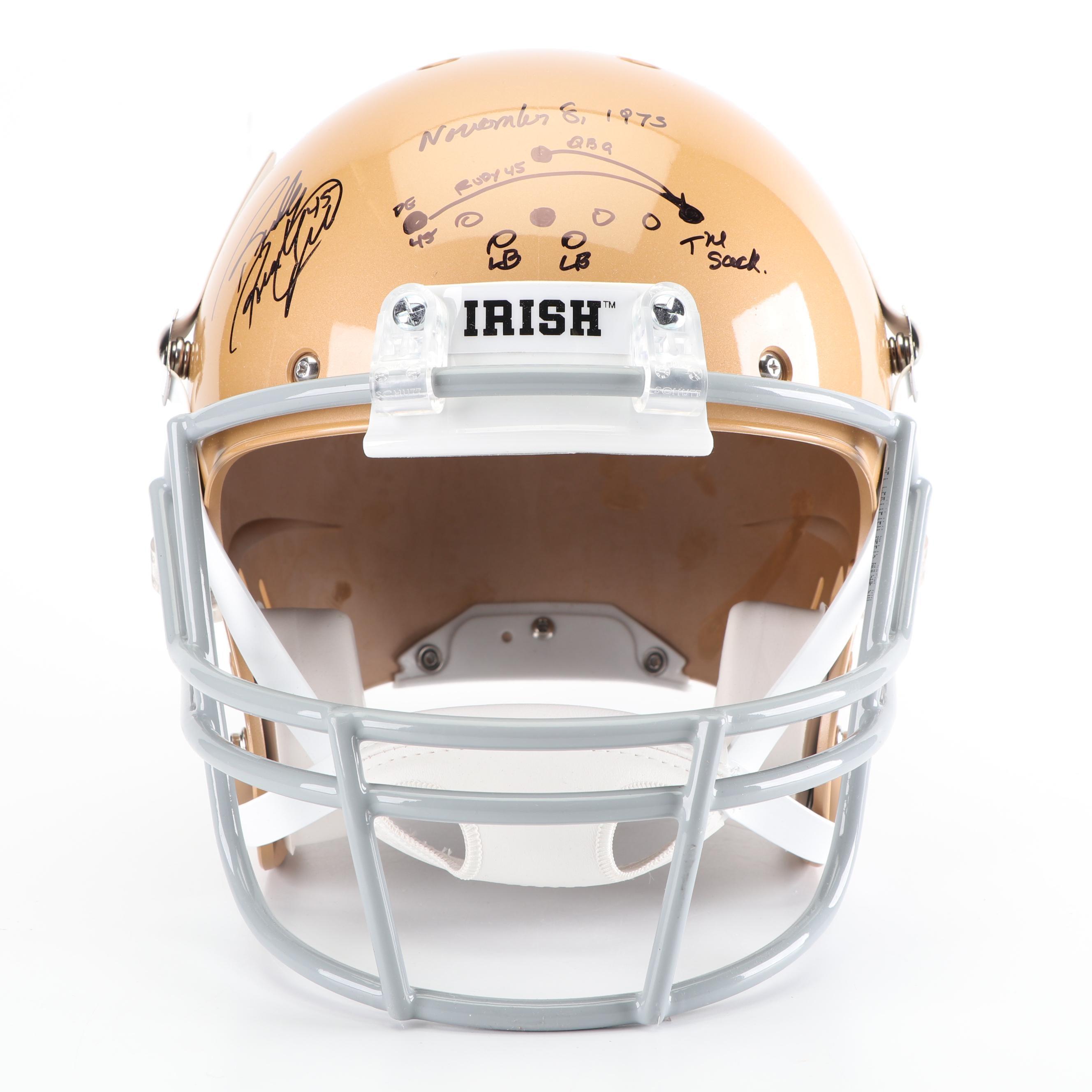 "Rudy Ruettiger Autographed Replica Helmet with ""The Sack"" Play Diagram - JSA COA"
