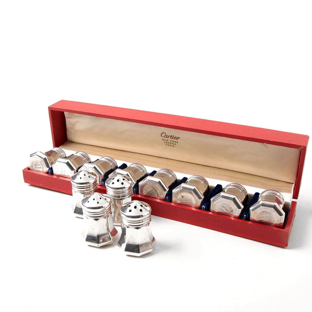 Set of Twelve Cartier Sterling Silver Individual Salt and Pepper Shakers