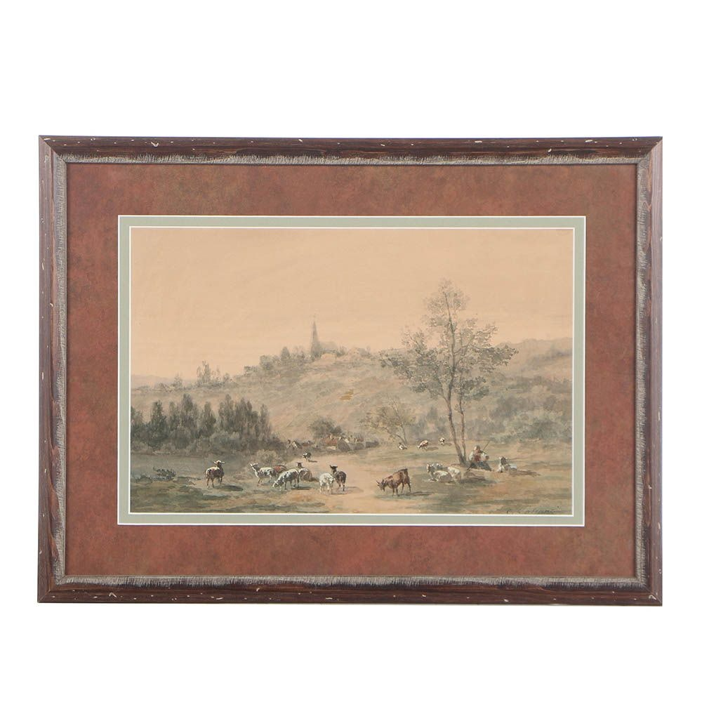 Vintage Watercolor Painting on Paper of a Bucolic Landscape