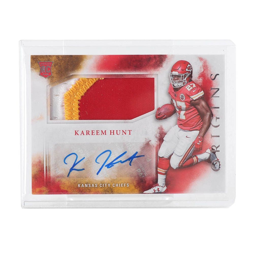 Kareem Hunt 2017 Panini Origins Rookie Card with Patch and Autograph
