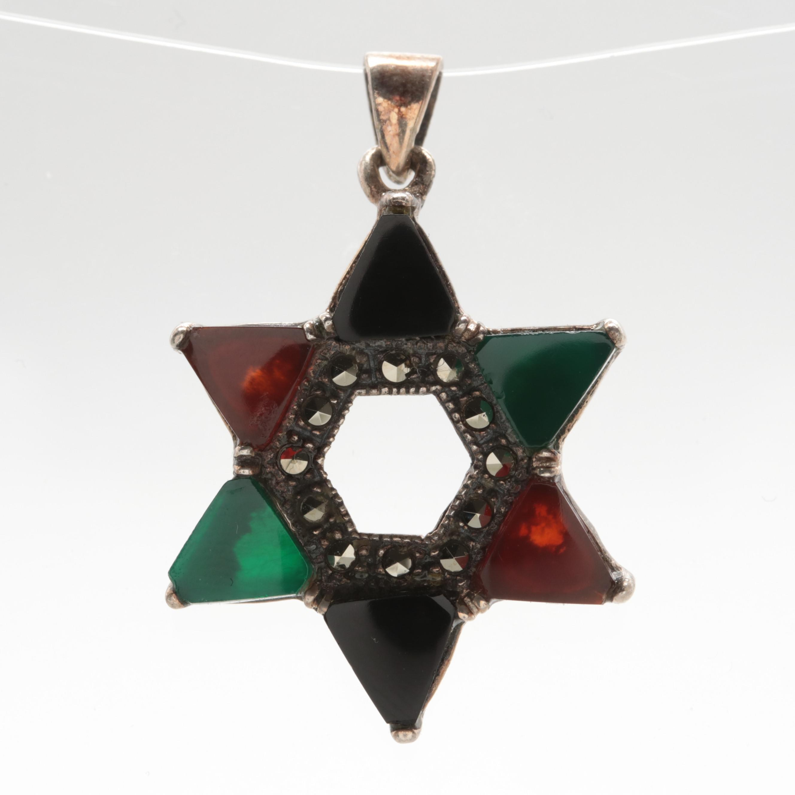 Sterling Silver and Black Onyx, Carnelian, and Chalcedony Star Pendant