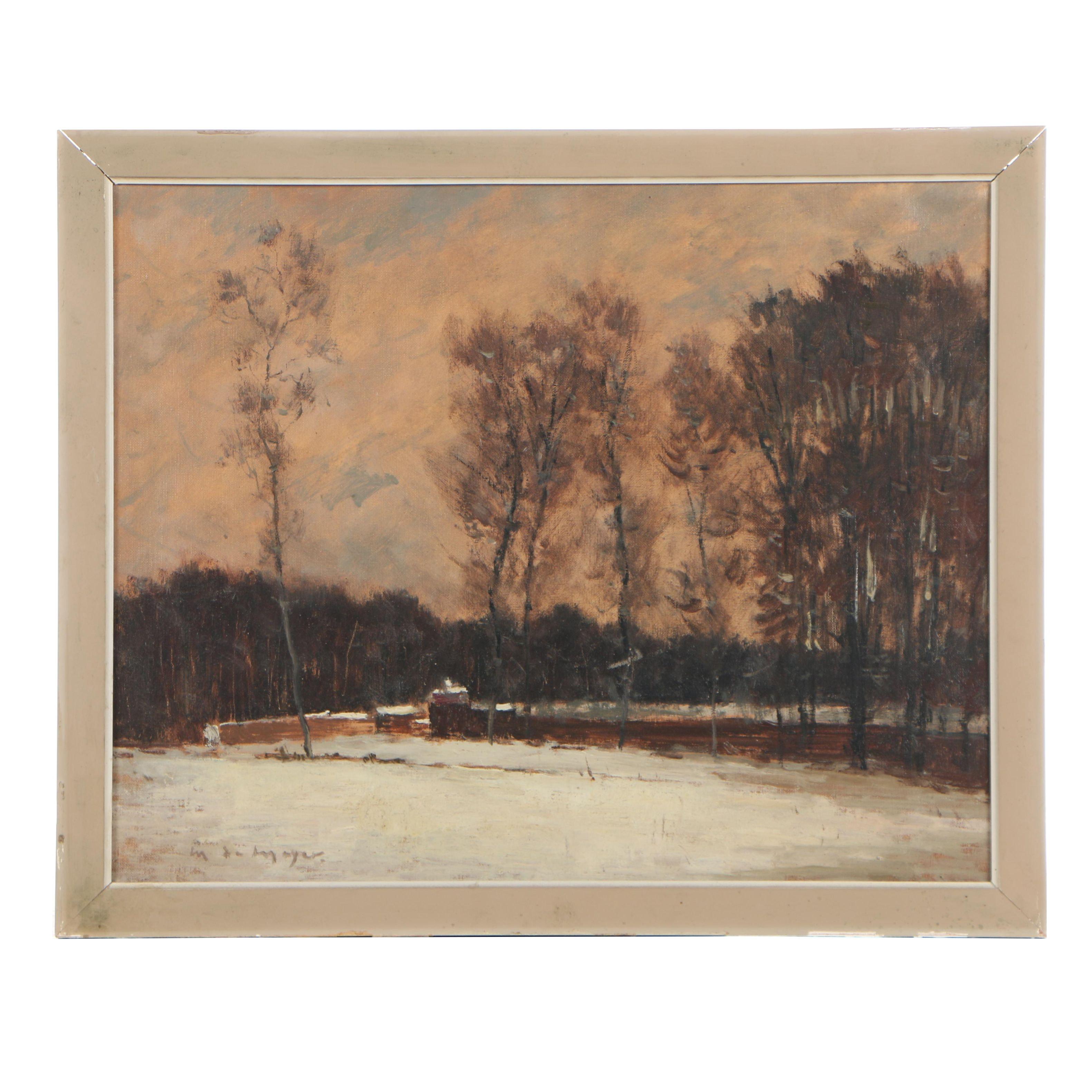 Maurice de Mayer 1968 Oil on Canvas Impressionist Landscape