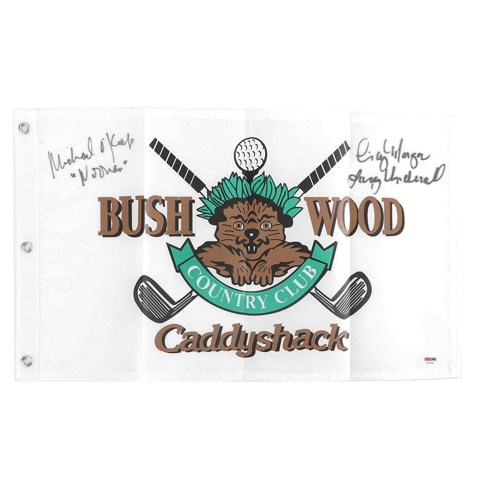 "Michael O'Keefe and Cindy Morgan Autographed ""Caddyshack"" Flag - PSA/DNA COA"