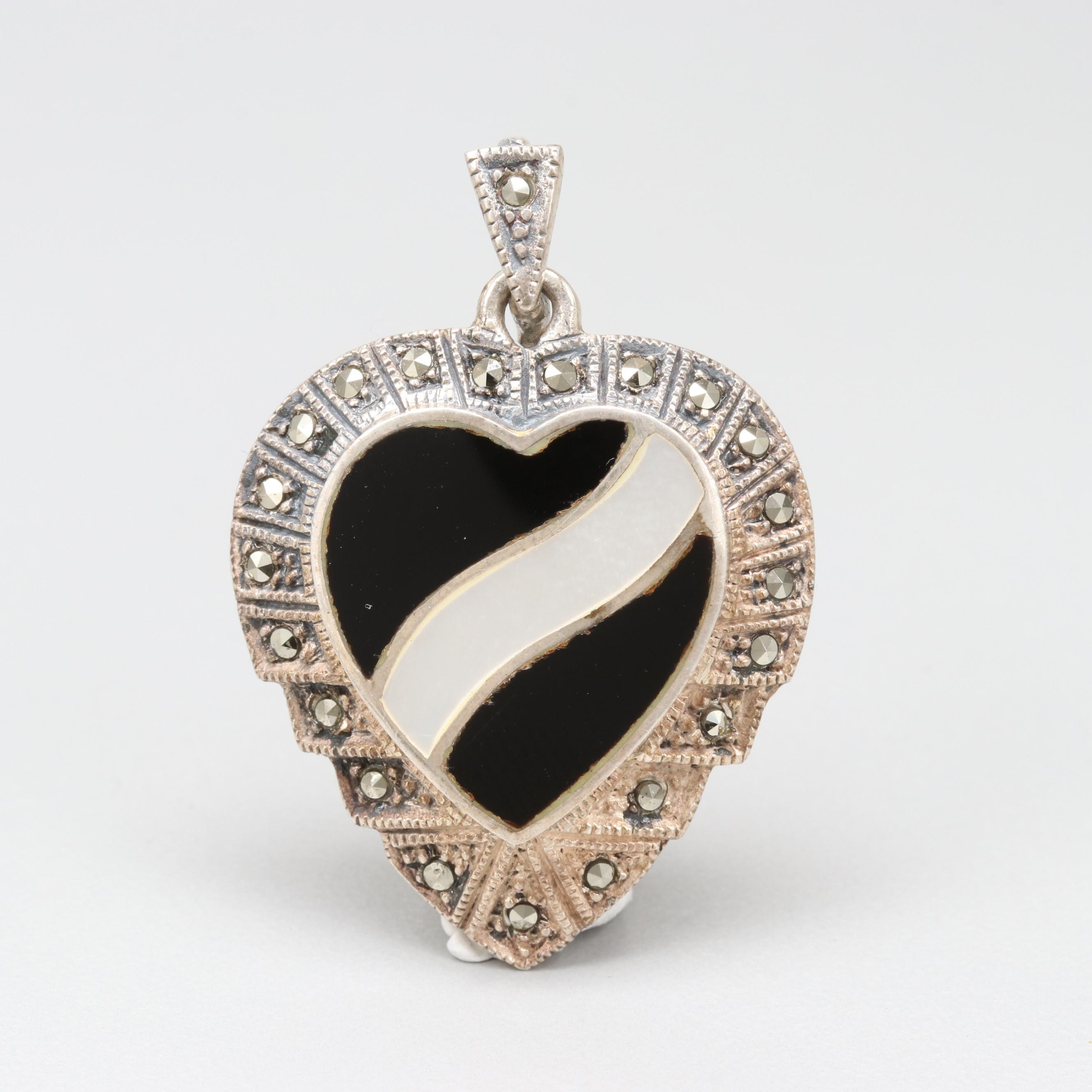 Sterling Silver Mother of Pearl, Black Onyx, and Marcasite Heart Pendant