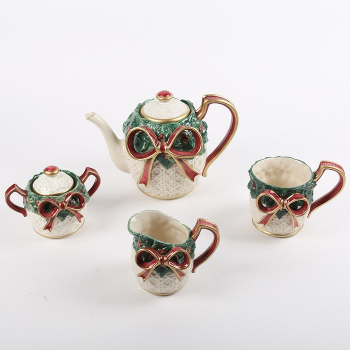 Fitz & Floyd Hand-Painted Christmas Ceramic Tea Set