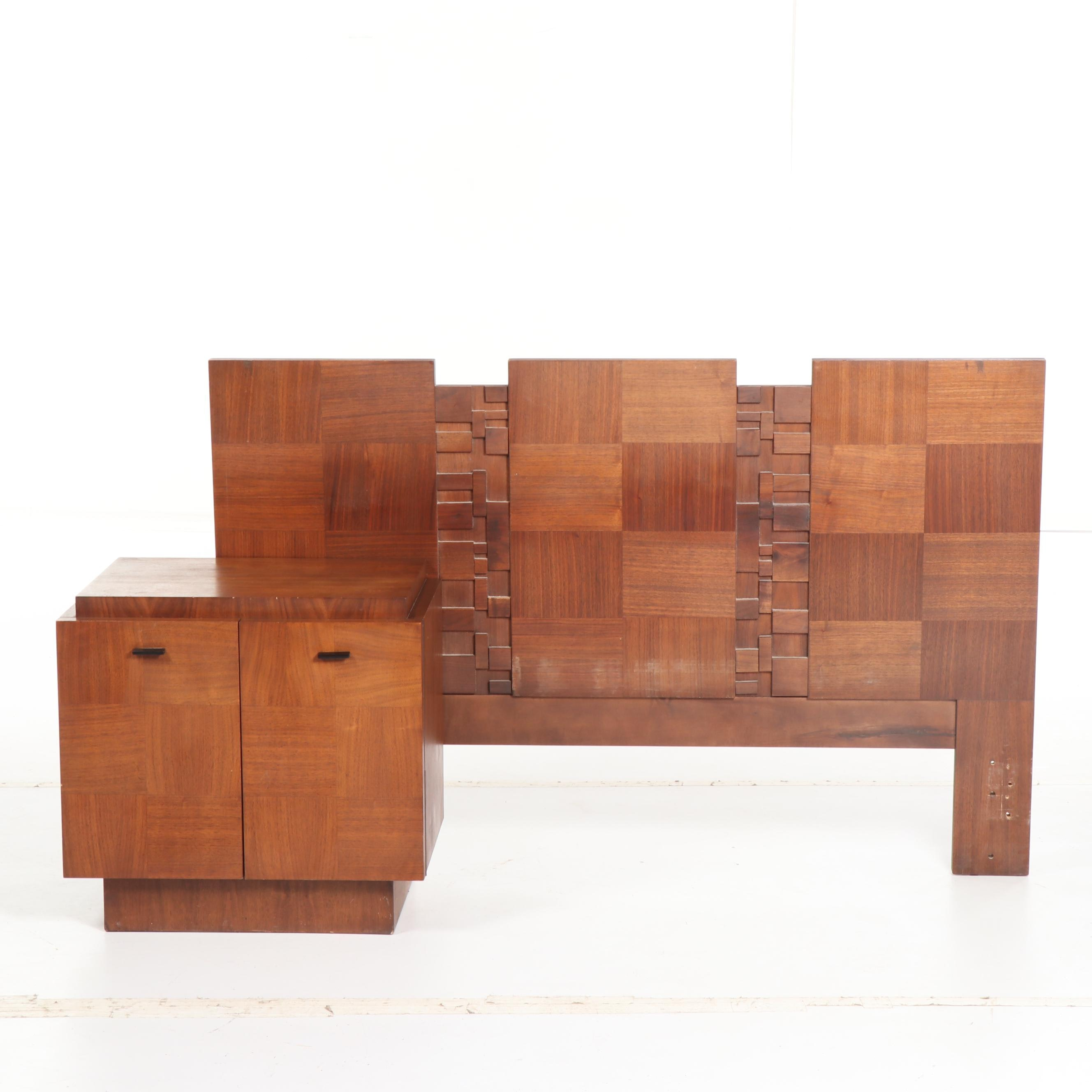Brutalist Style Mixed Wood Headboard and Nightstand, Mid/Late 20th Century