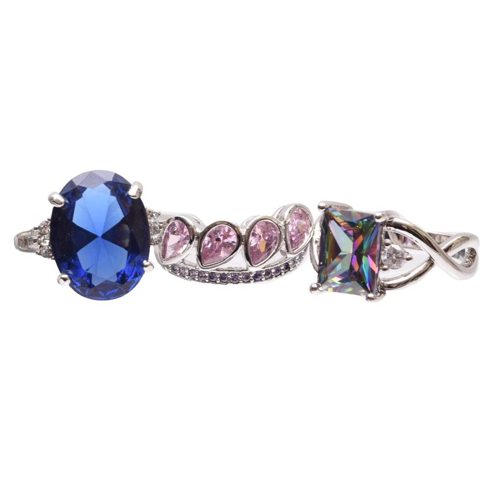 Sterling Silver Cubic Zirconia and Synthetic Topaz Rings