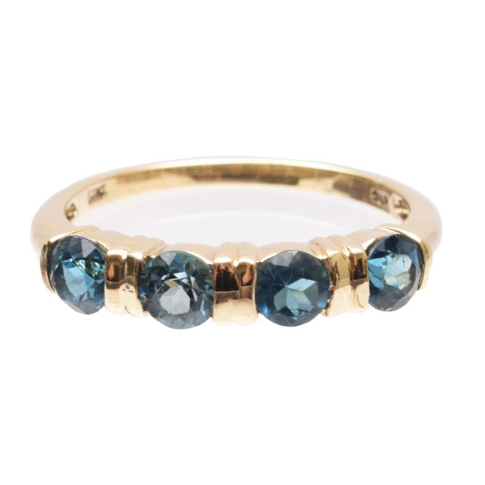 10K Yellow Gold 1.20 CTW Blue Topaz Ring