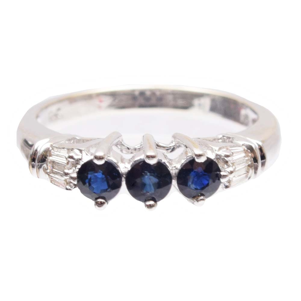 10K White Gold Sapphire and Diamond Ring