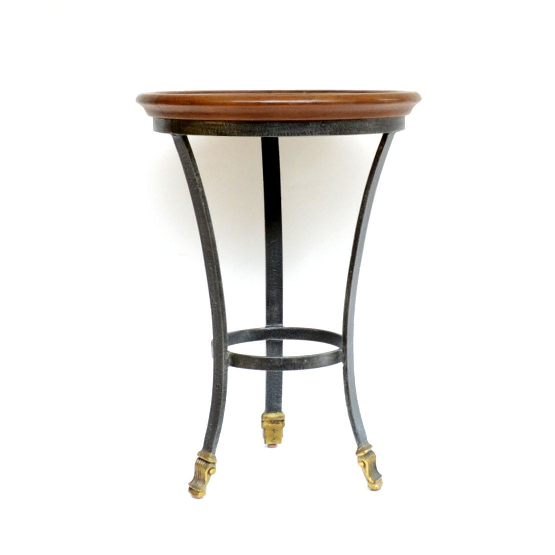 Contemporary Leather and Metal Side Table