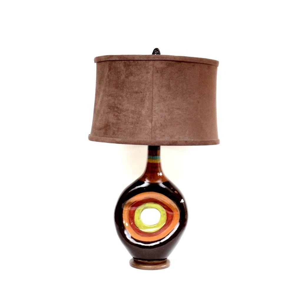 Italian Vietri Ceramic Table Lamp with Microfiber Shade