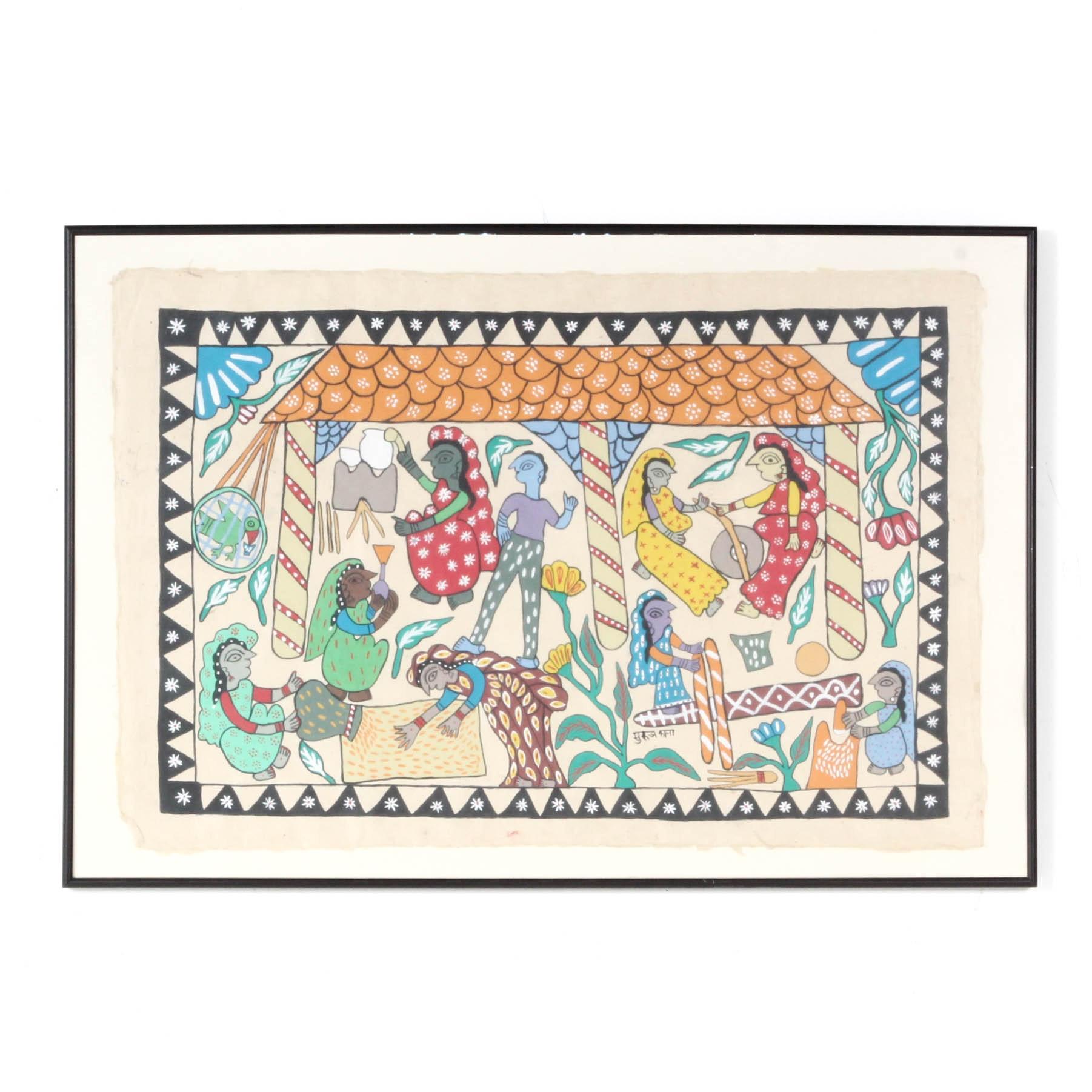 Surya Kala Nepalese Folk Art Acrylic Genre Painting