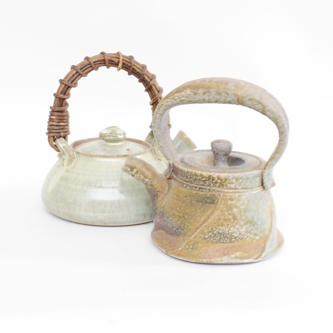 Two Japanese Hand-Crafted Pottery Teapots