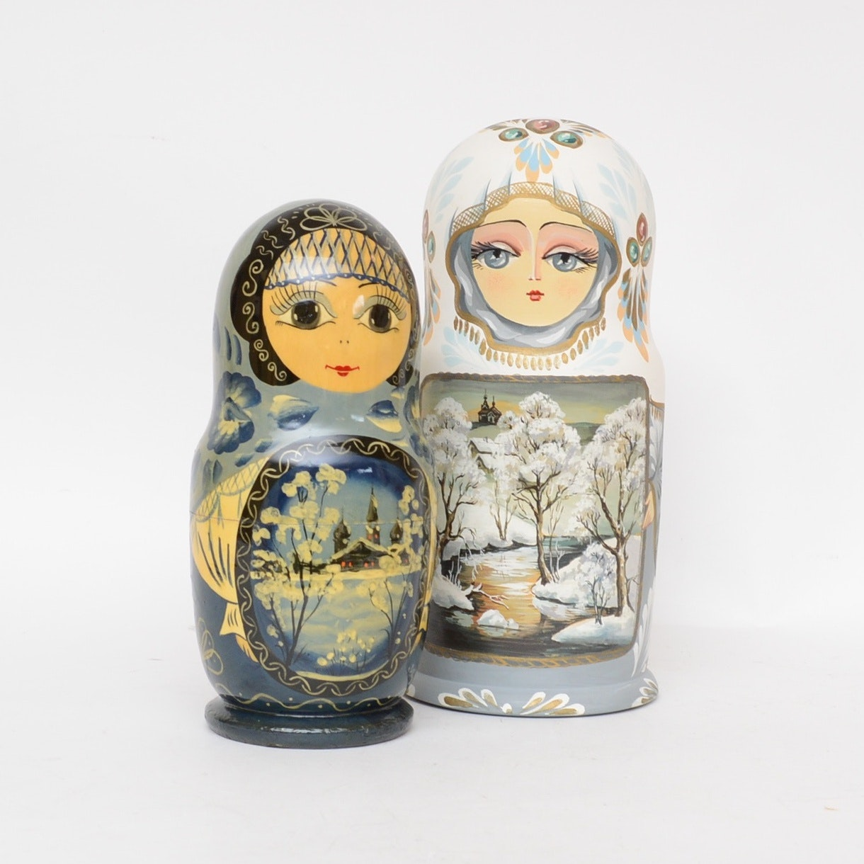 Pair of Large Hand-Painted and Signed Russian Nesting Dolls