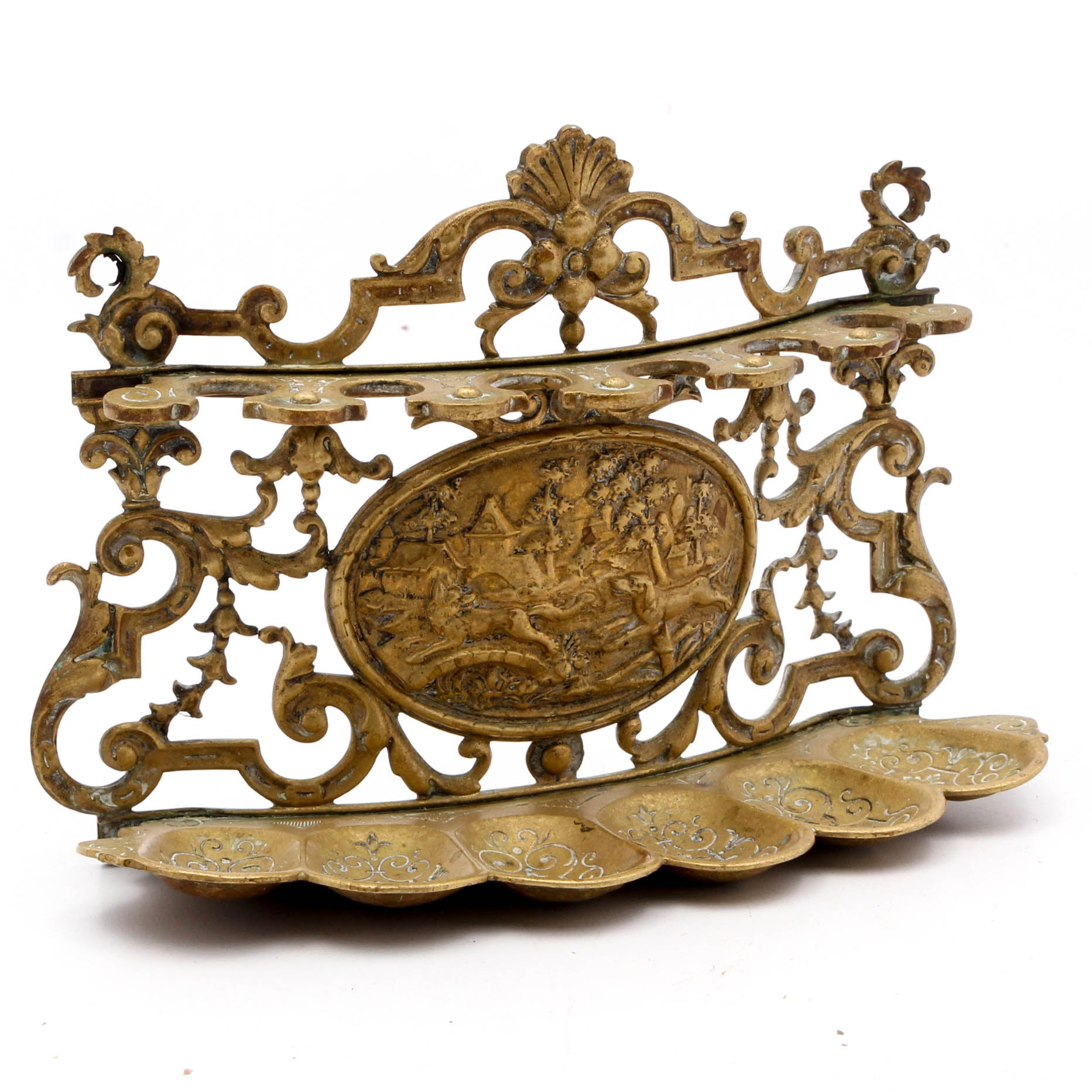 Brass Pipe Rack With Hunting Scene
