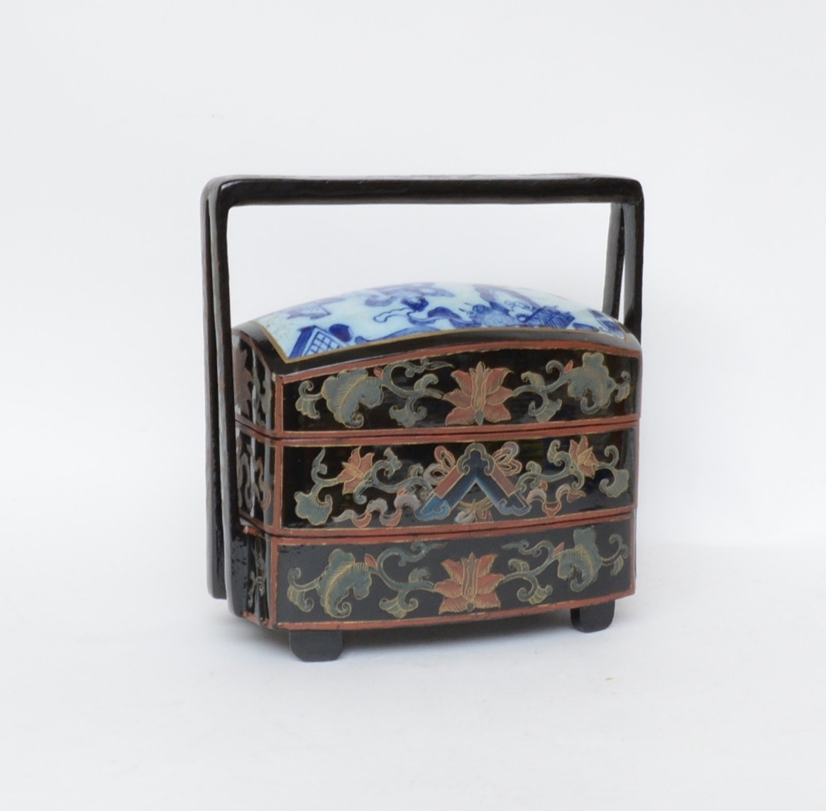 Chinese Hand-Painted and Lacquered Tiered Box
