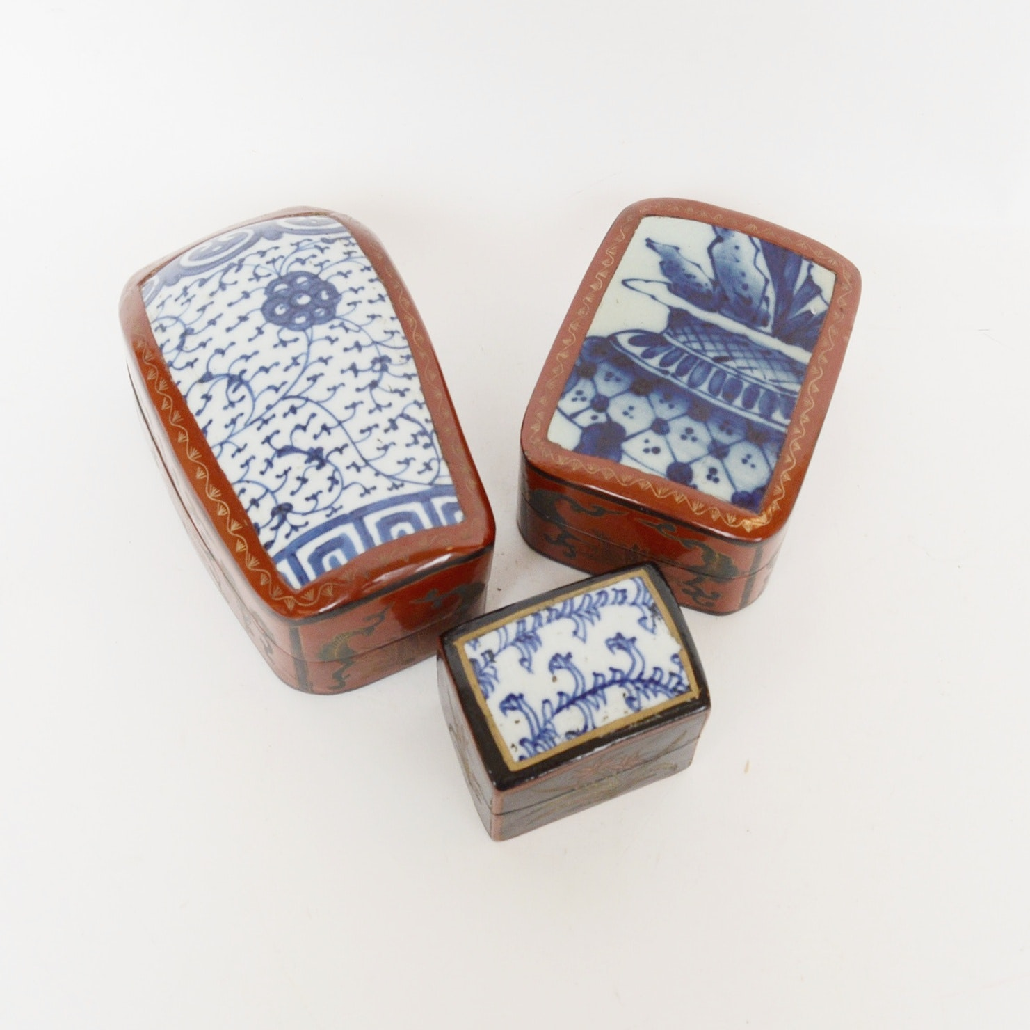 Chinese Hand-Painted and Lacquered Boxes with Porcelain Sherd Lids