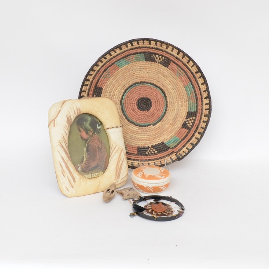 Native American Style Woven Wedding Basket, Trinket Dish, and More