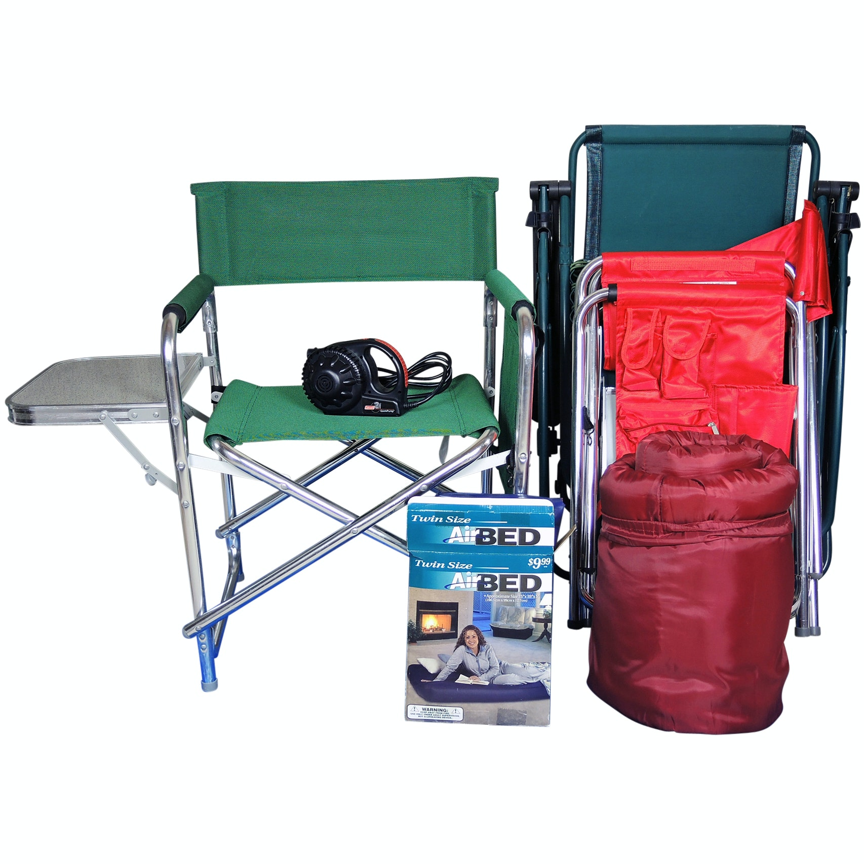 Camping Gear Including Outdoor Folding Chairs with Attached Side Table