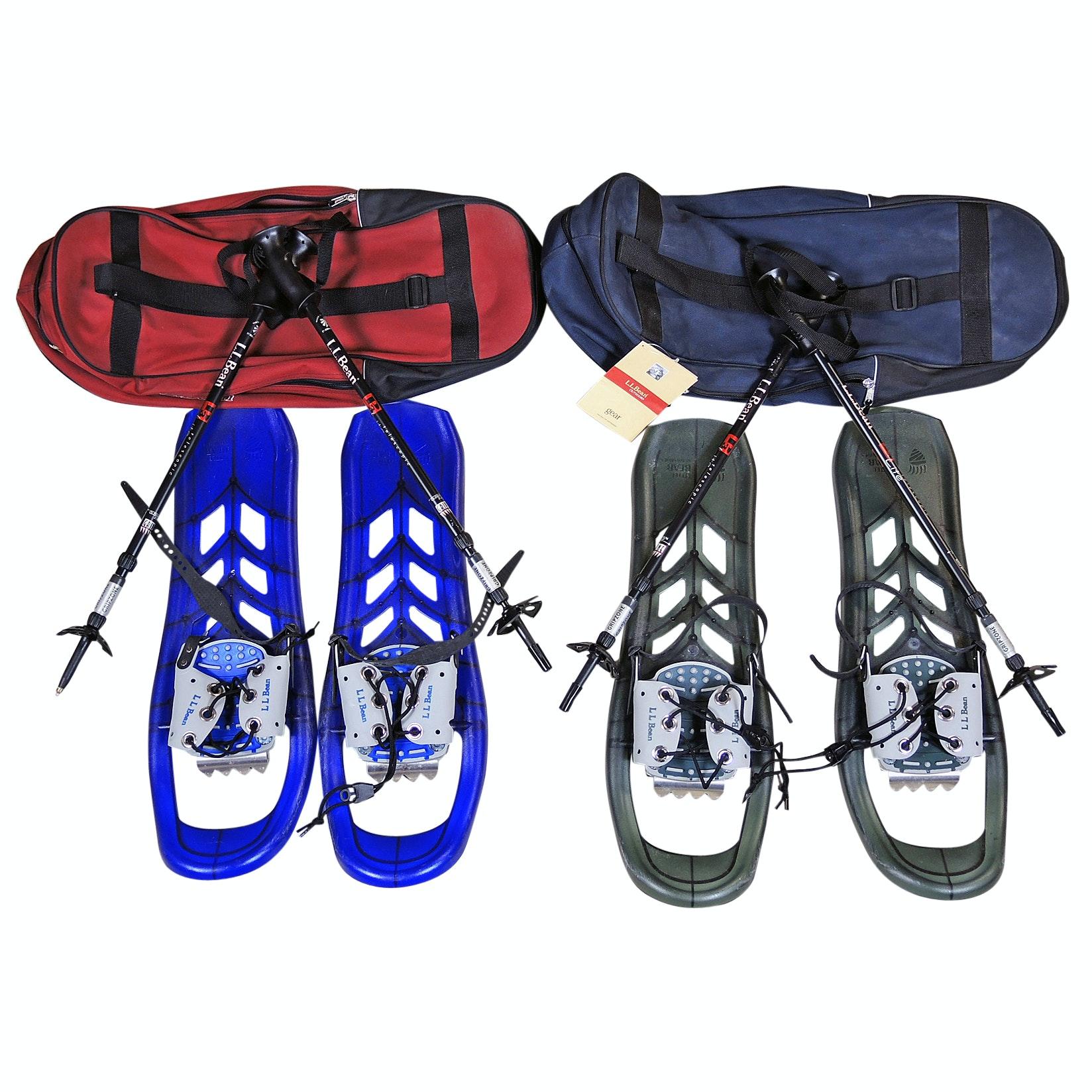 L.L. Bean Snowshoes, Poles and Travel Bags
