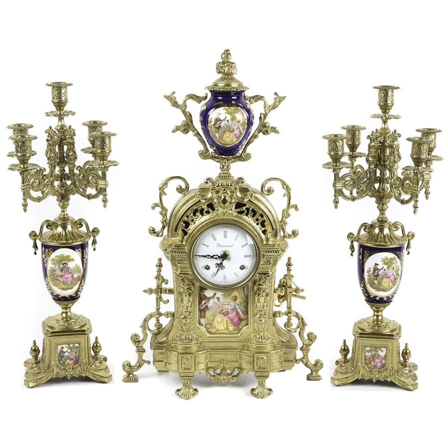 Brevettato Italian Garniture Imperial Clock Set