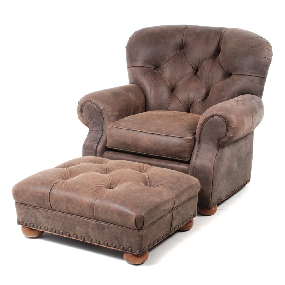 C. R. Laine Leather Armchair and Ottoman