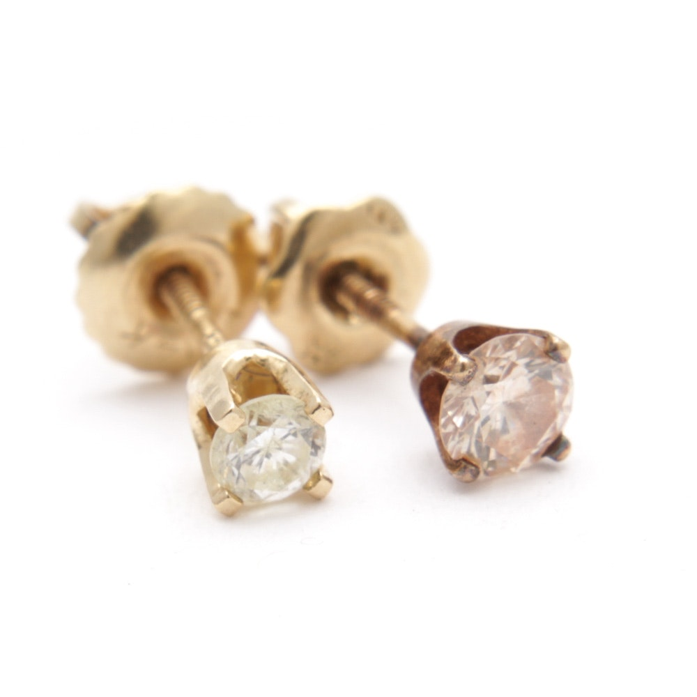 14K Yellow Gold Mismatched Diamond Stud Earrings