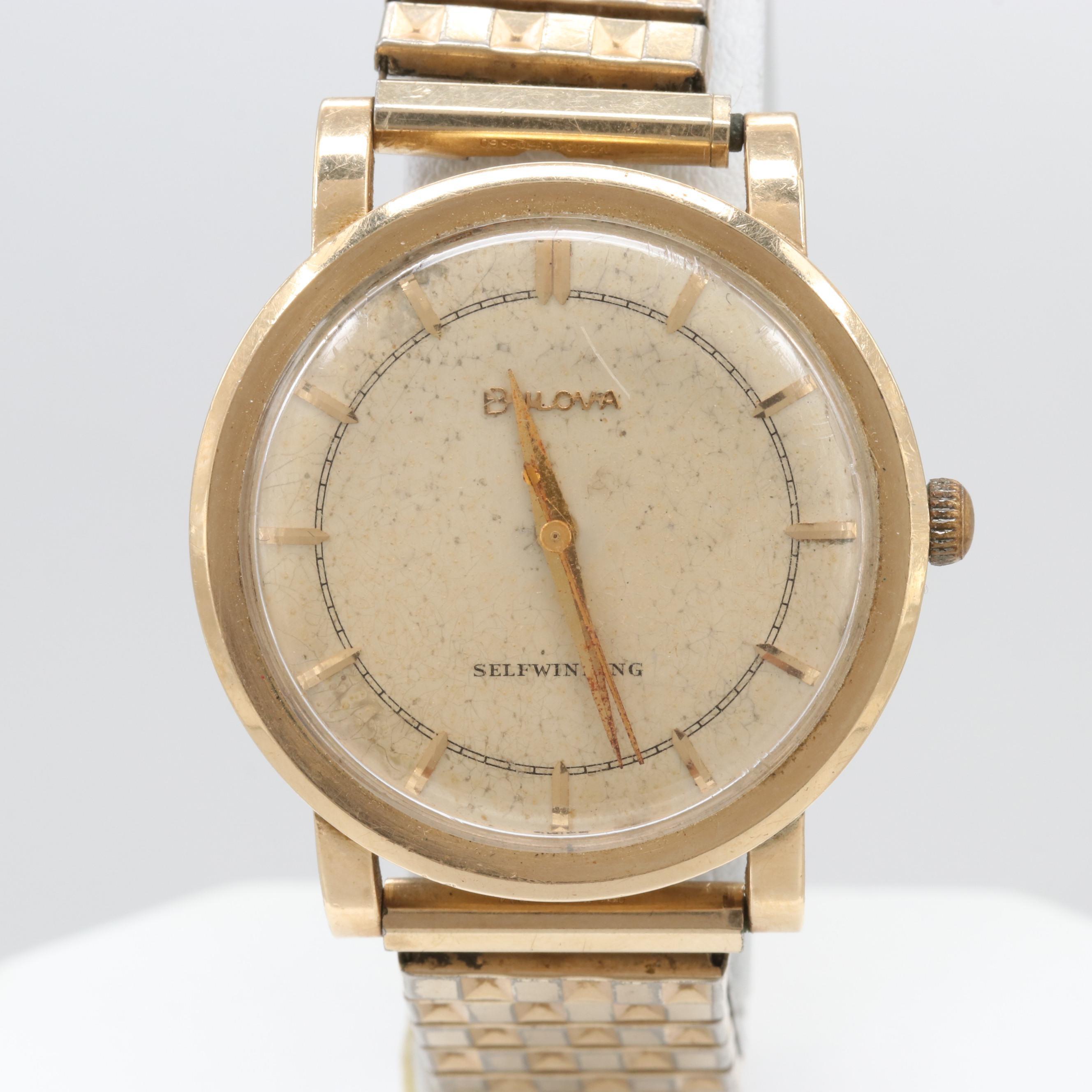 Vintage Bulova 14K Yellow Gold Automatic Wristwatch