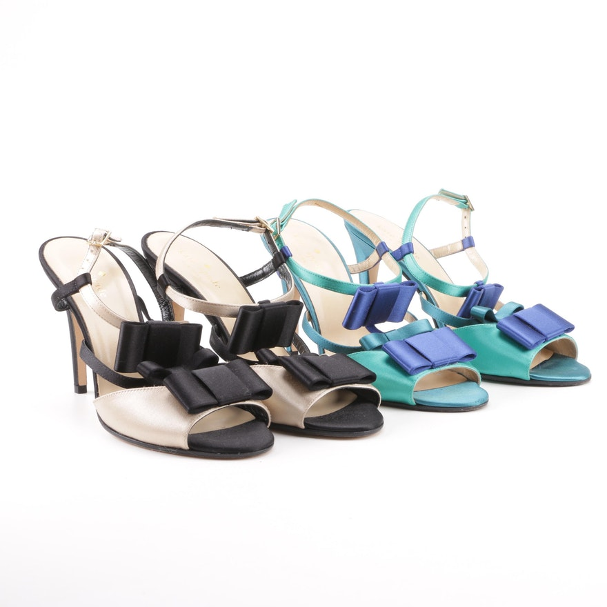 365eb06cc5e8 Kate Spade New York Two-Tone Satin T-Strap Bow Sandals   EBTH