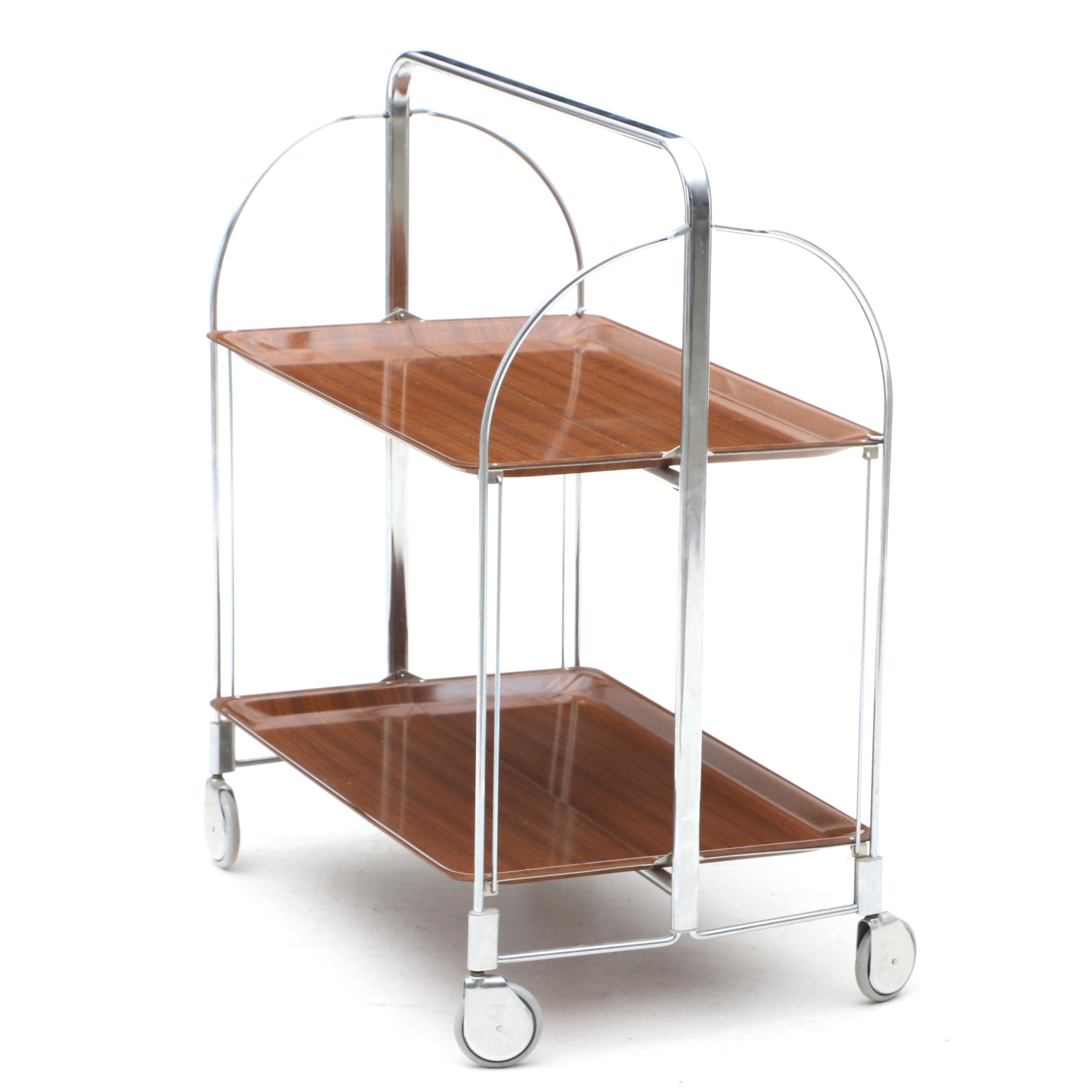 Vintage Collapsible Rolling Serving Cart