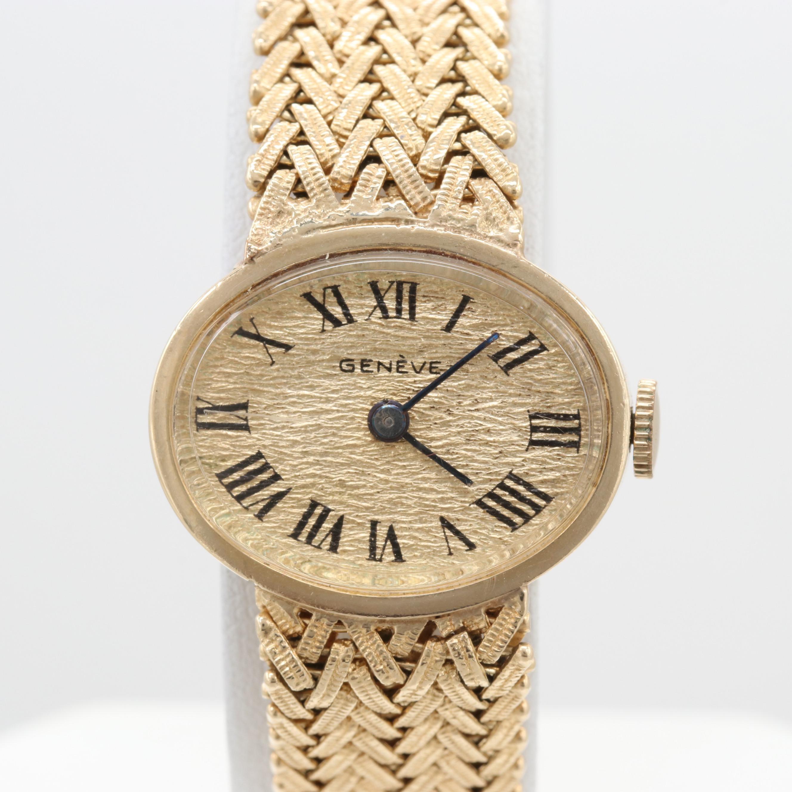 Geneva 14K Yellow Gold Stem Wind Wristwatch