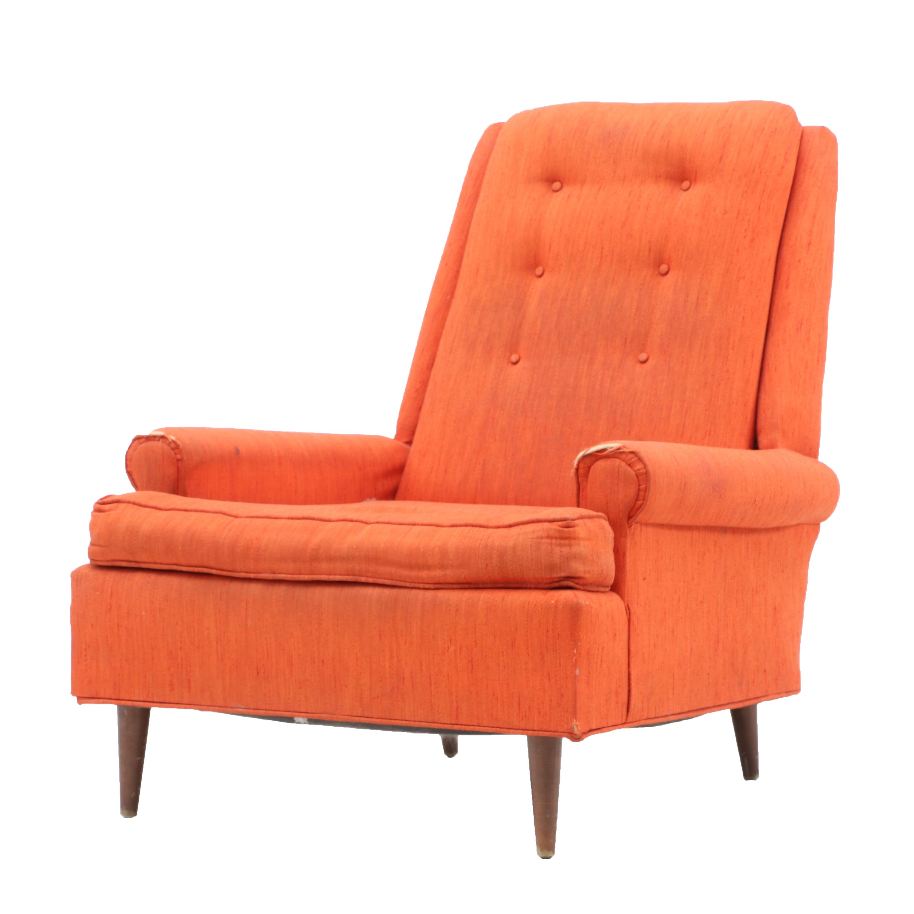 Mid Century Modern Orange Upholstered Chair