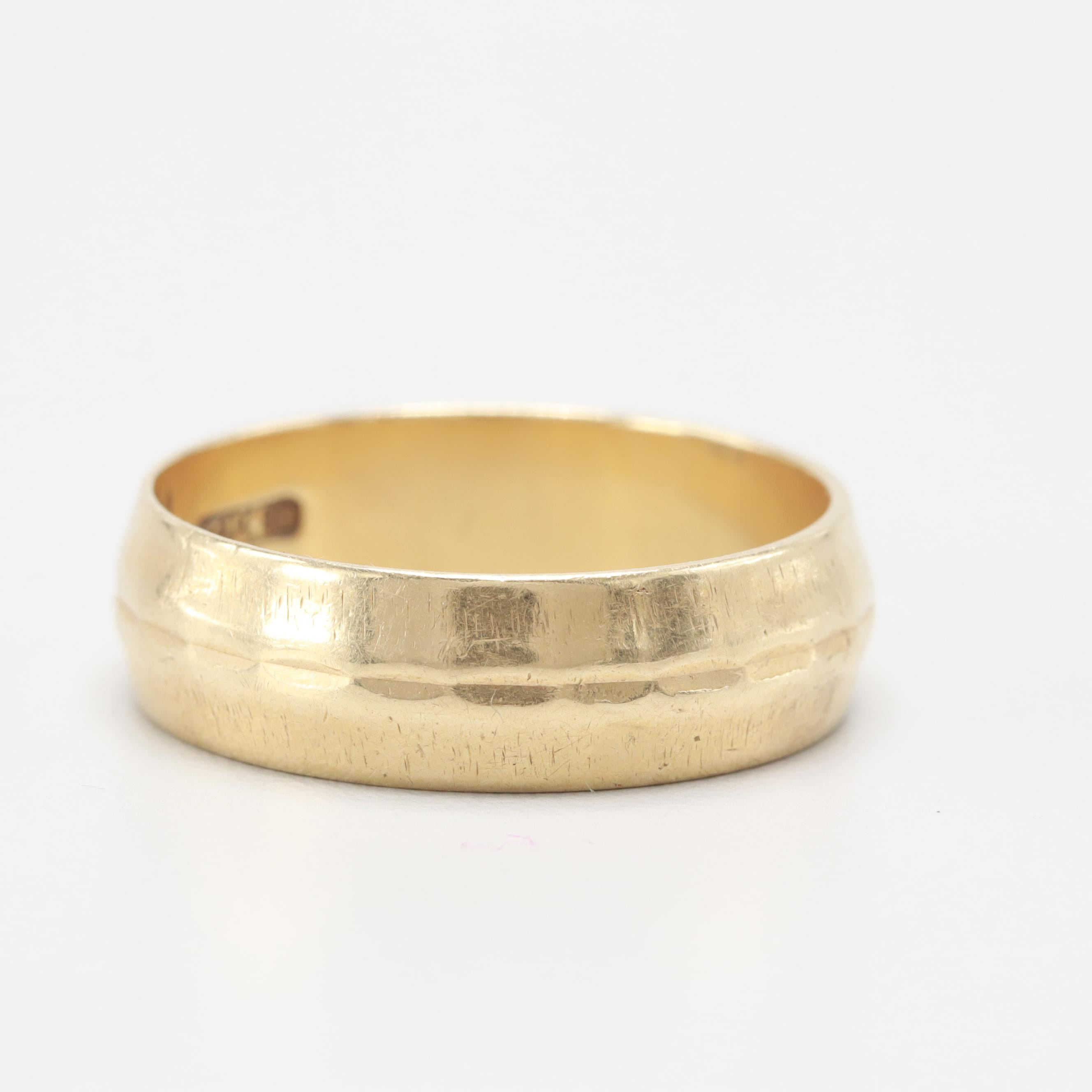 14K Yellow Gold Center Textured Ring