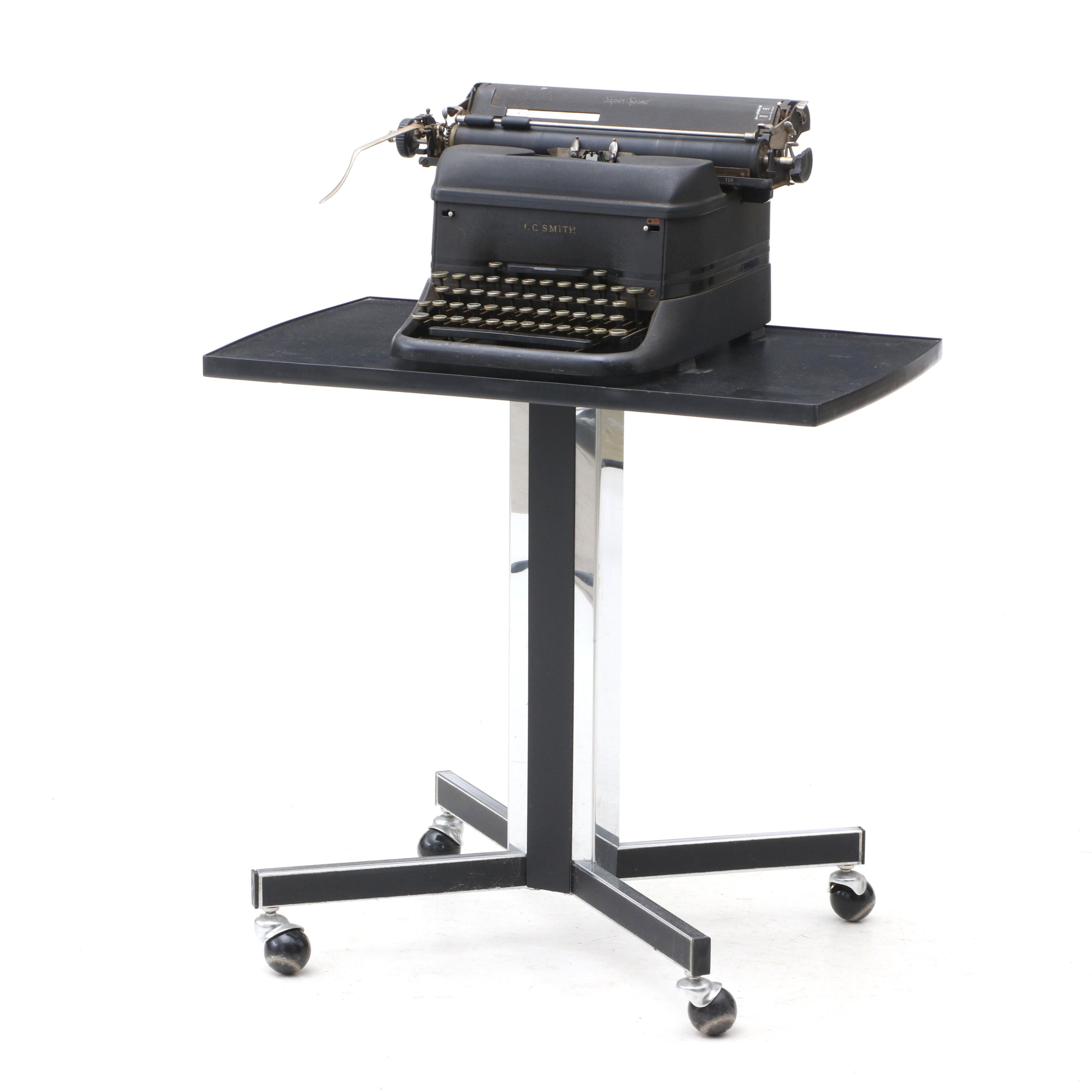 Gusdorf Modernist Stand and Vintage Smith Corona Typewriter