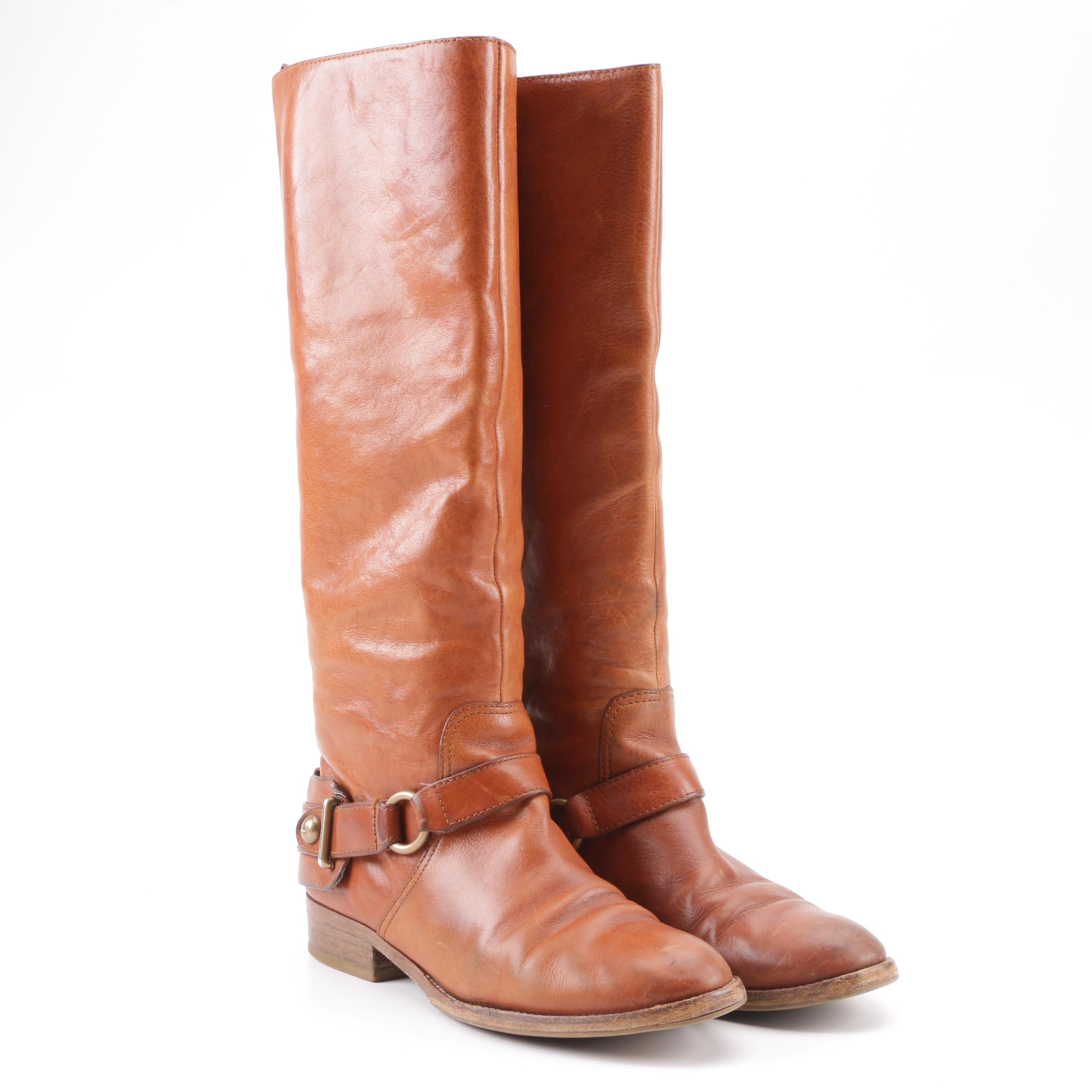 Women's Coach Natale Tan Leather Riding Boots