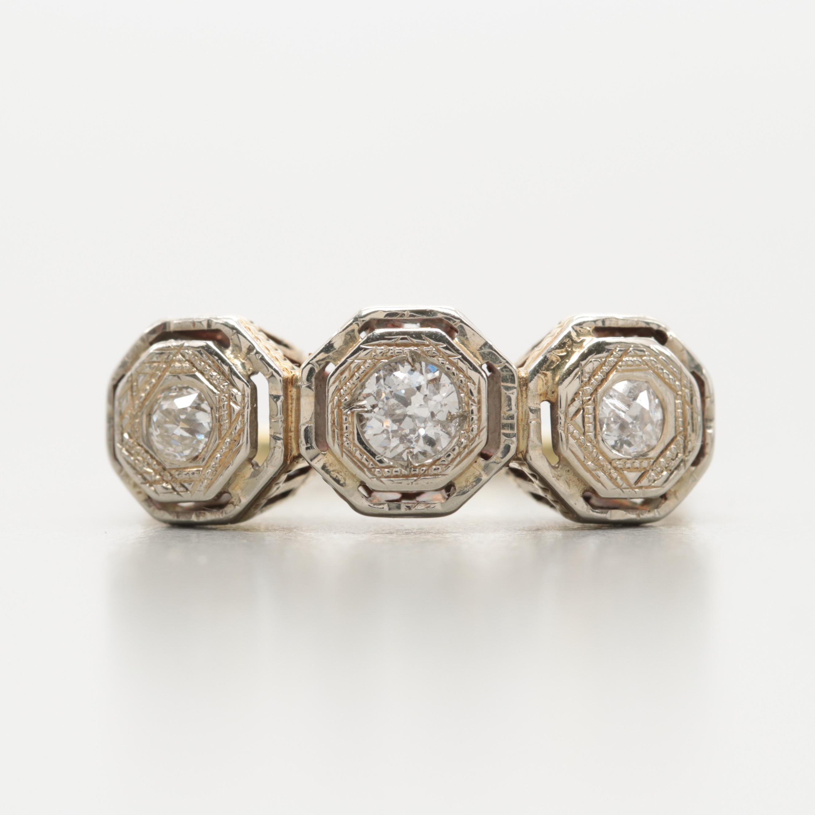 18K White and 14K Yellow Gold Diamond Ring
