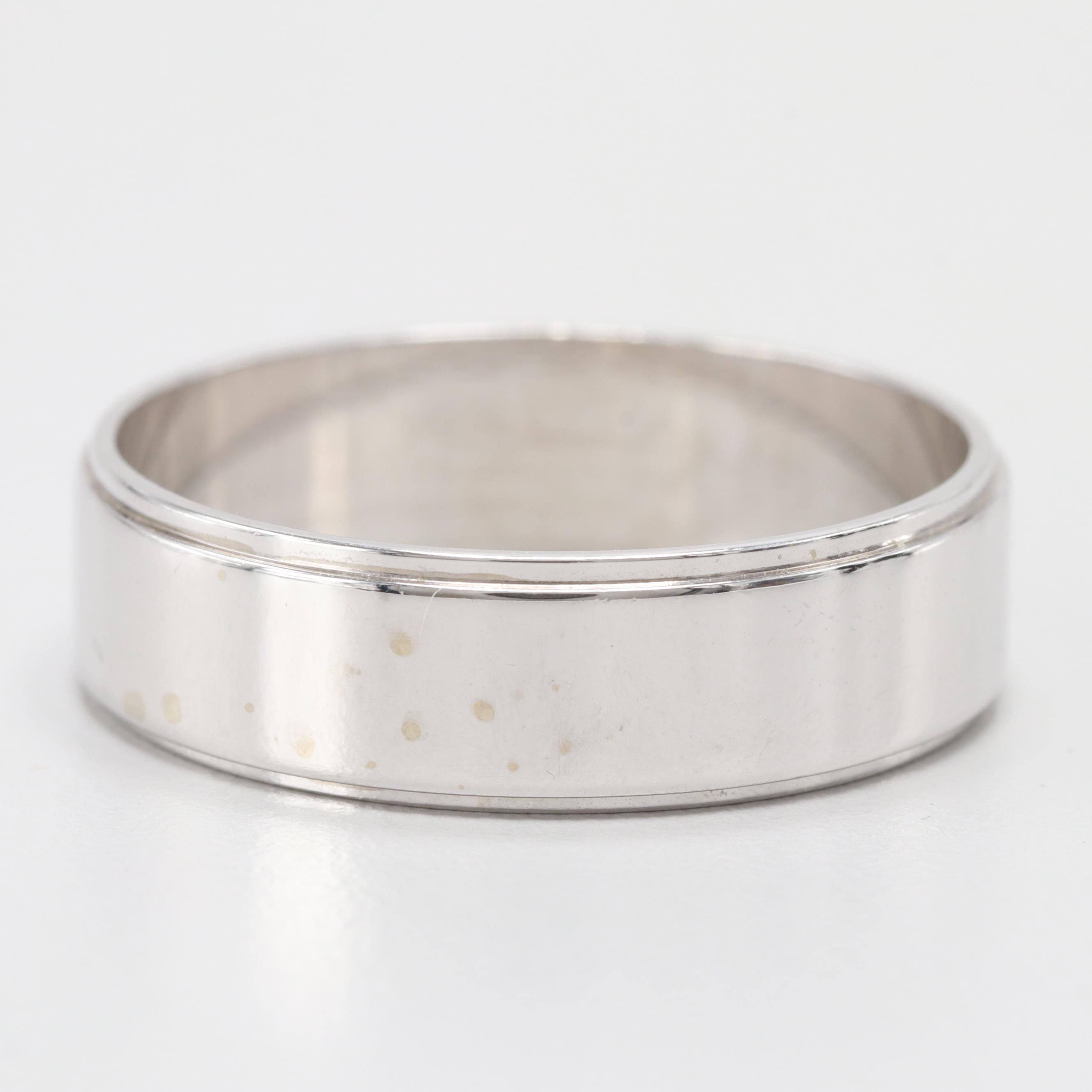 14K White Gold Ring Band