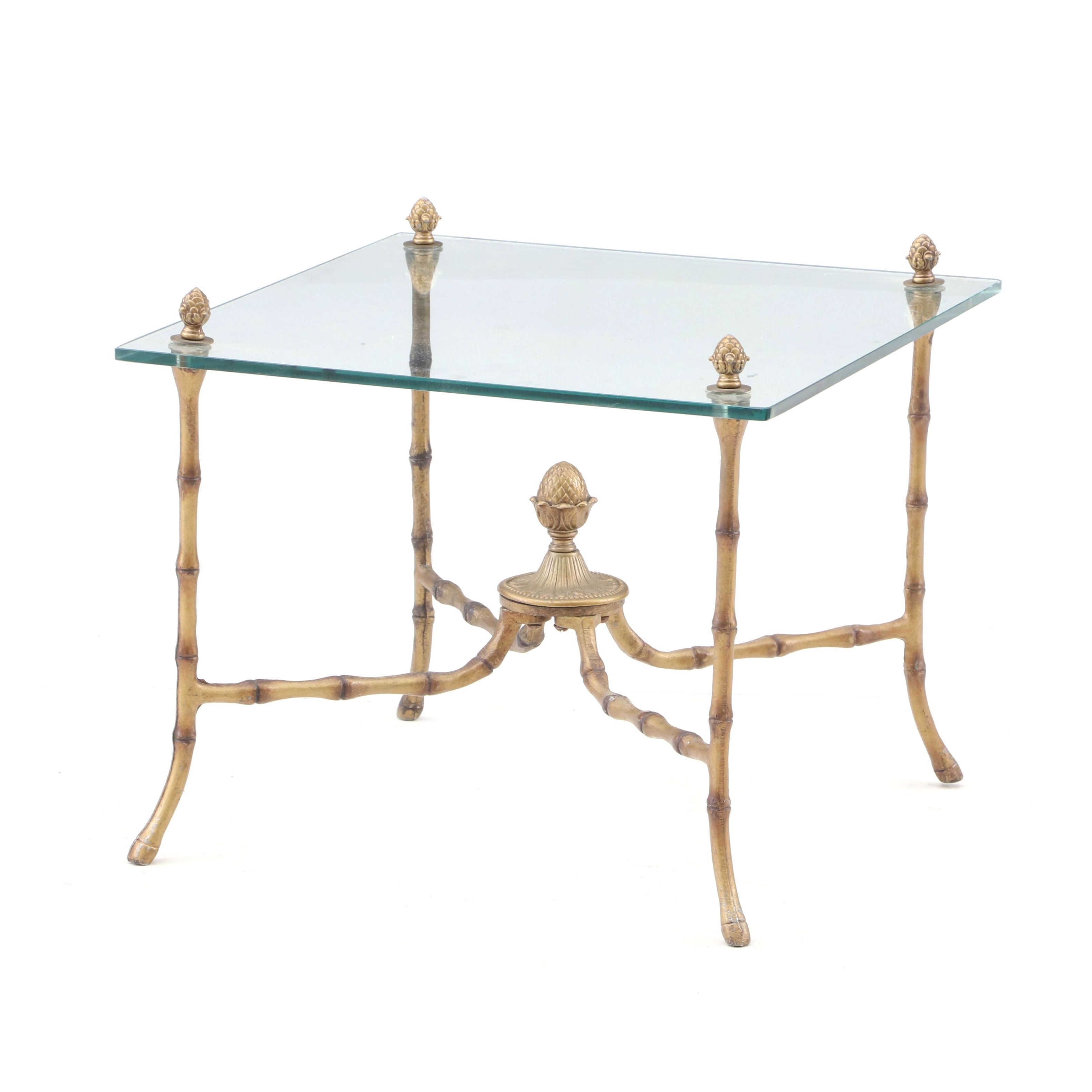 Glass Top Side Table, Mid to Late 20th Century