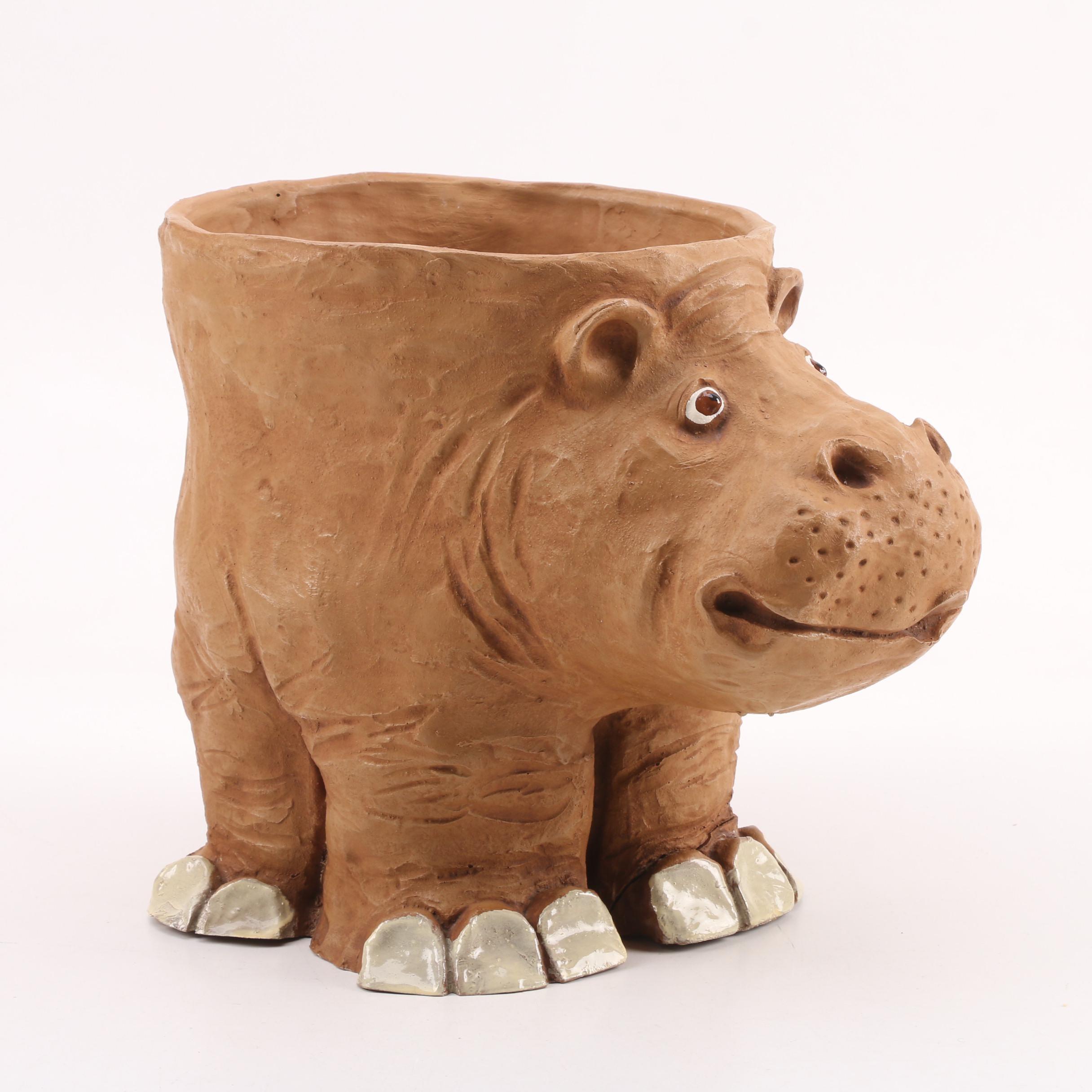 Dave Grossman Designs Sculptural Clay Hippopotamus Planter