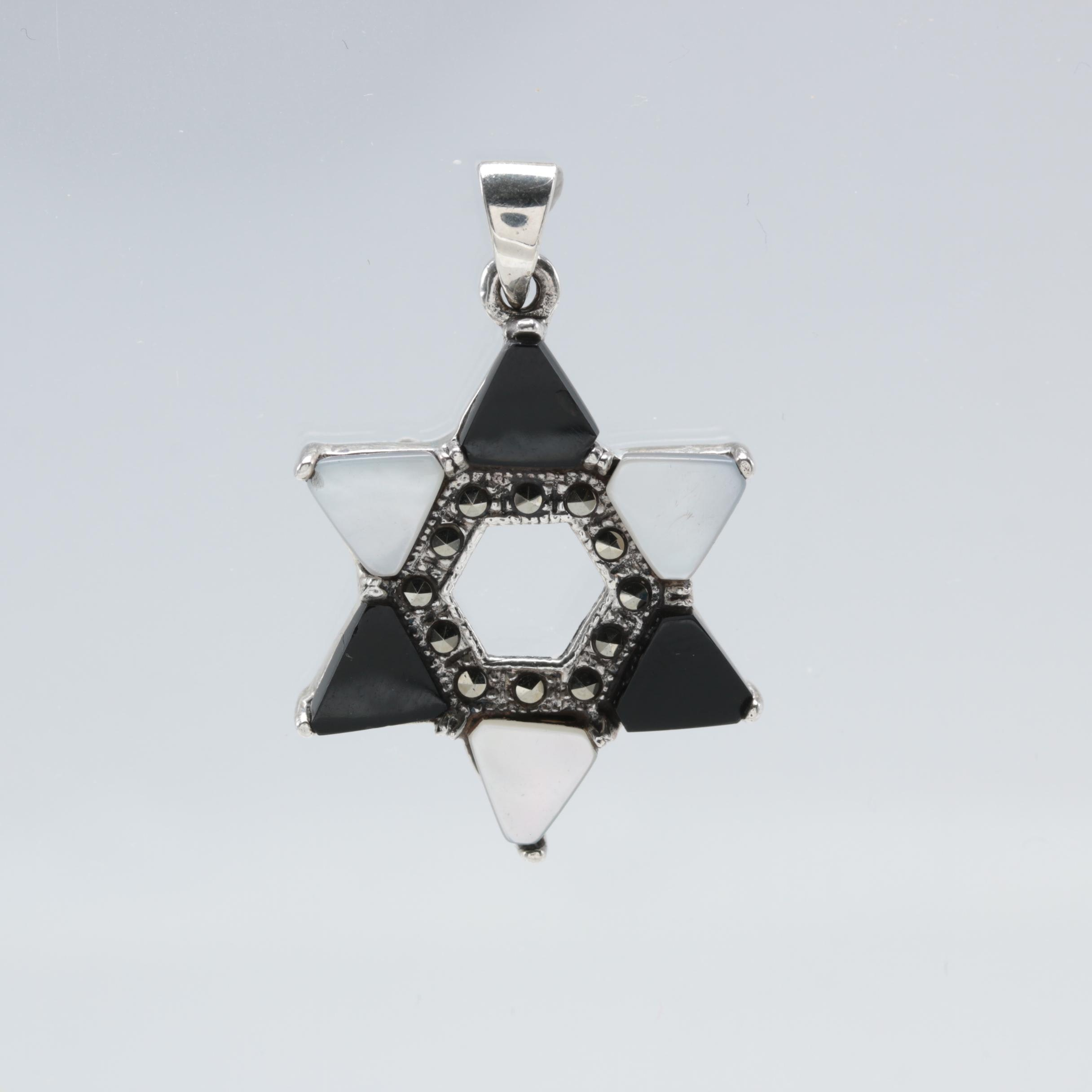 Sterling Silver Mother of Pearl, Black Onyx and Marcasite Star of David Pendant