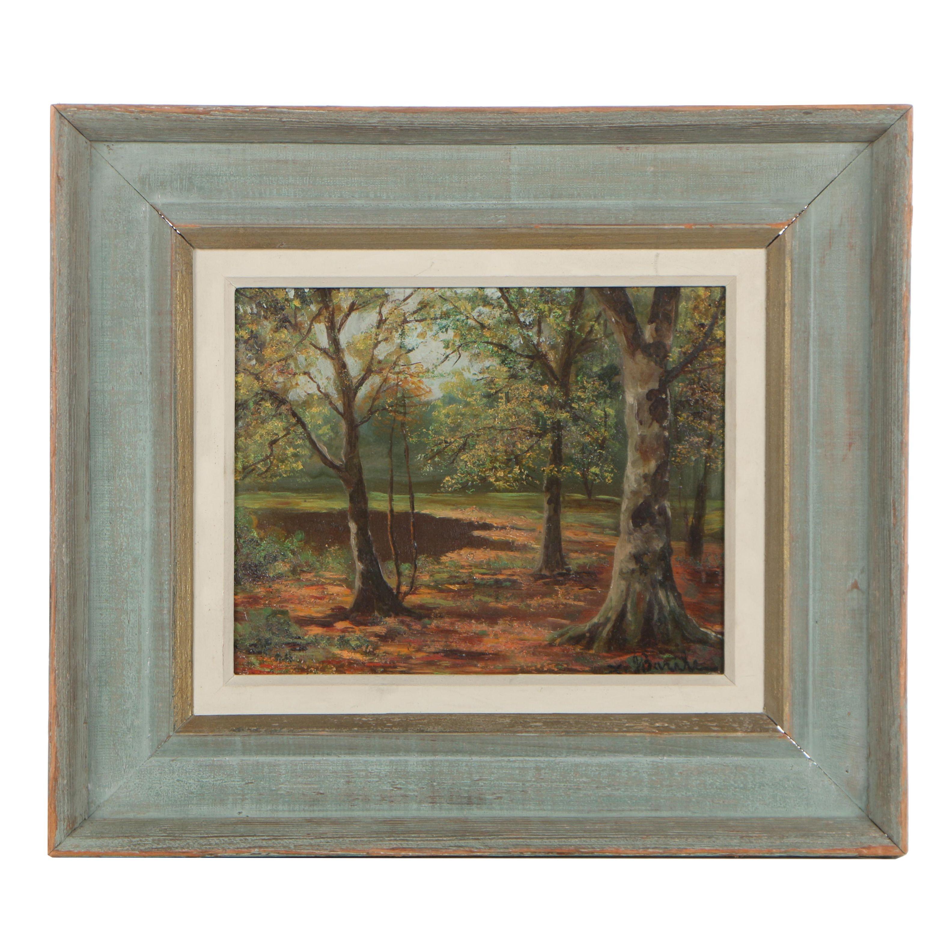Xavier Barile Oil on Masonite Autumnal Landscape