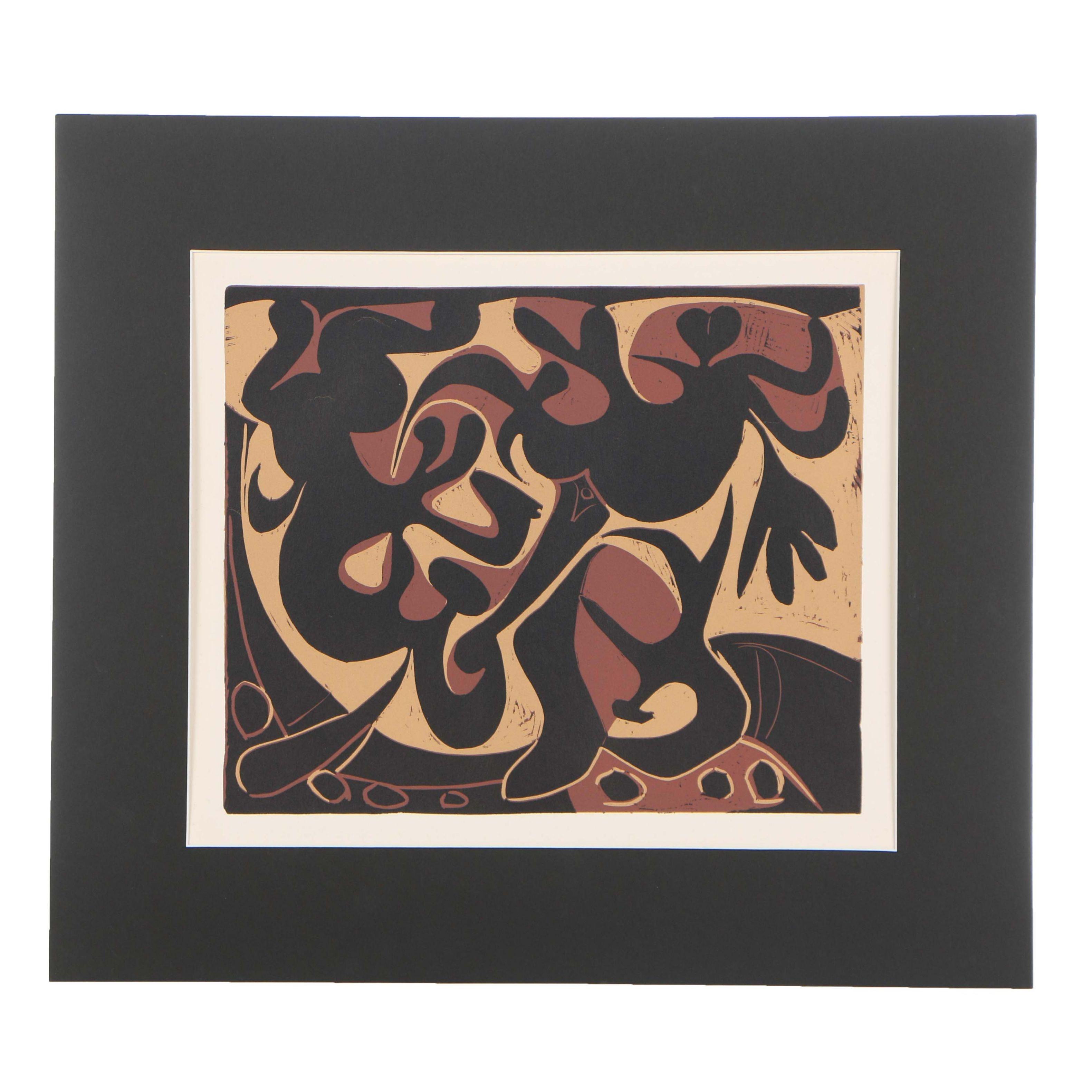 "Pablo Picasso 1962 Linocut ""Picador Goading Bull with Matador"""