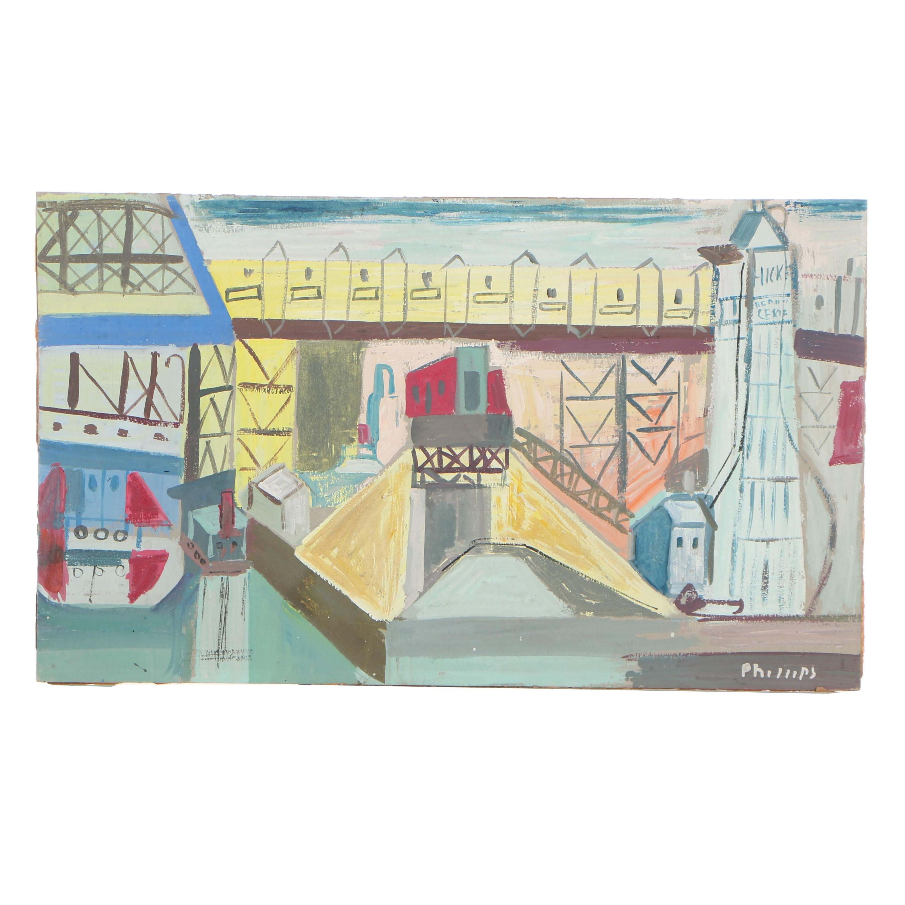 "Esther Phillips Gouache on Paperboard ""Hickey Cement Mixer on Gowanus Canal"""