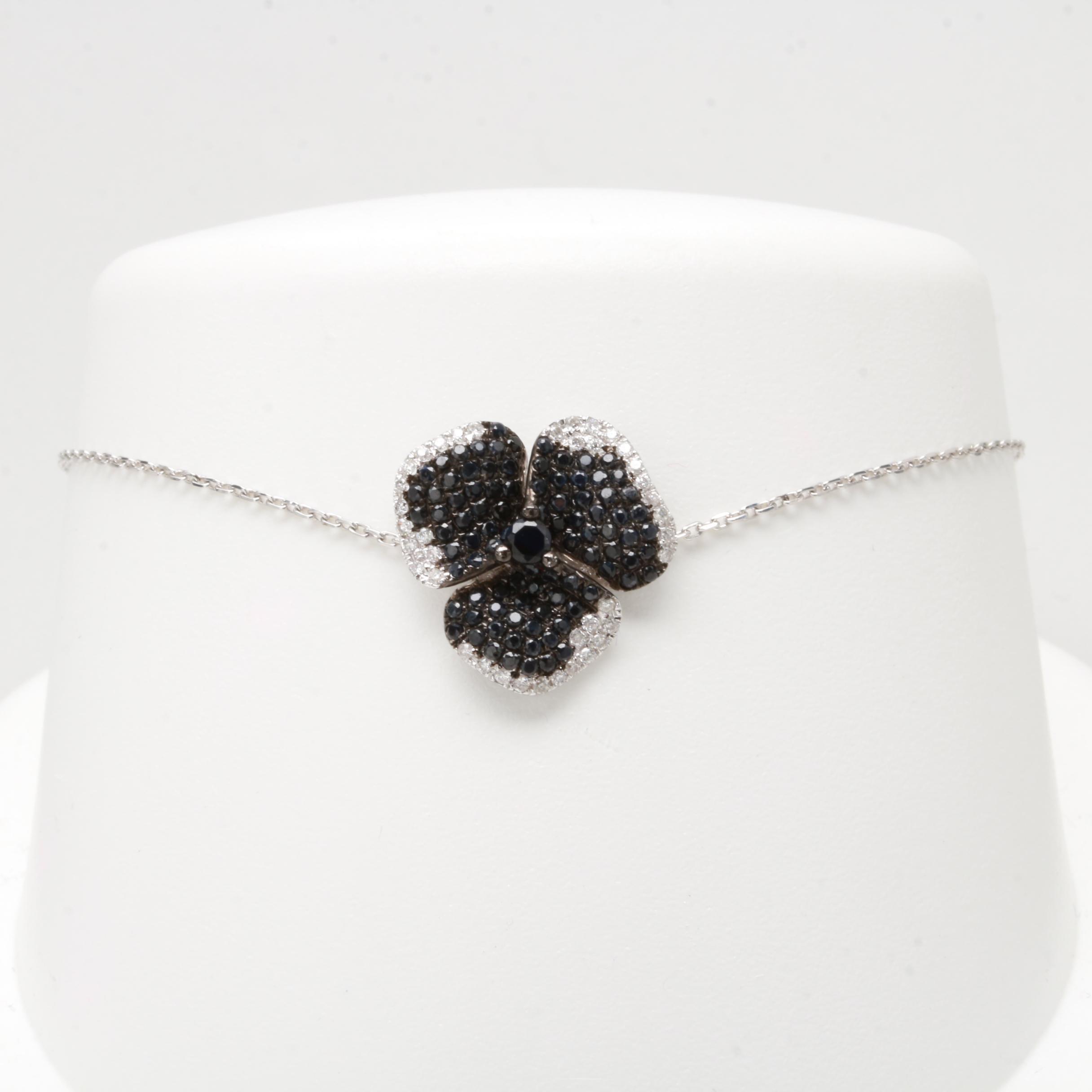 18K White Gold Sapphire and Diamond Bracelet