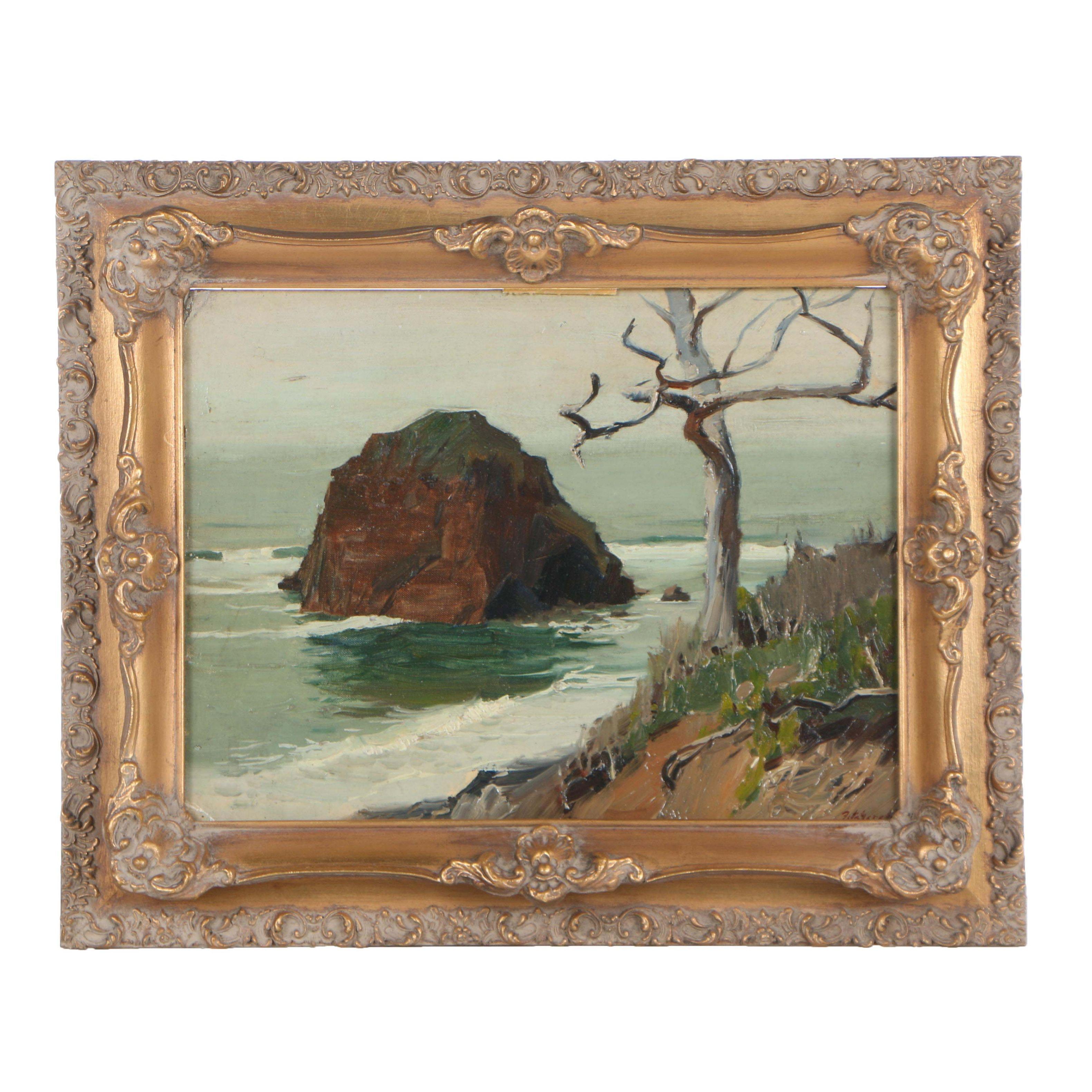 """Edmond J. Fitzgerald Oil Painting """"Oregon Coast"""""""