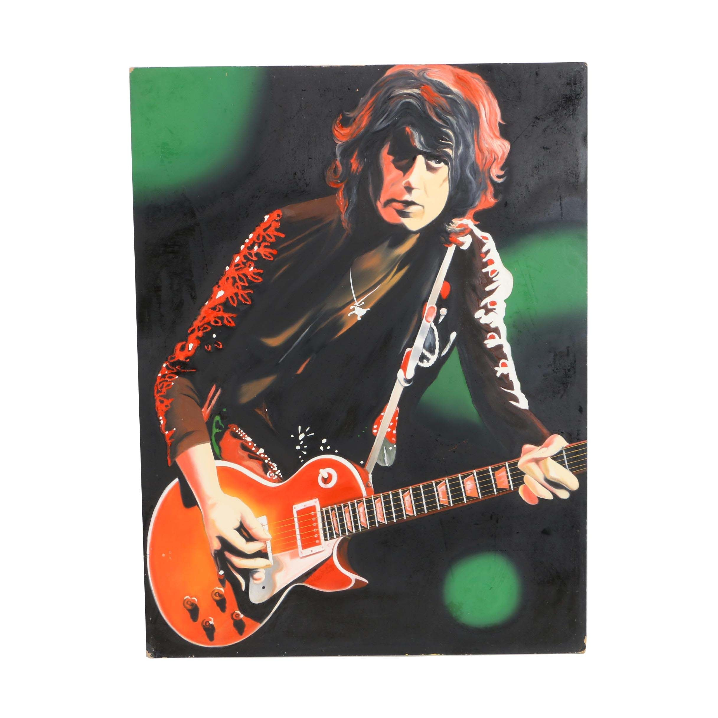 Hector Monroy (Monrock) Jimmy Page Oil Painting on Board