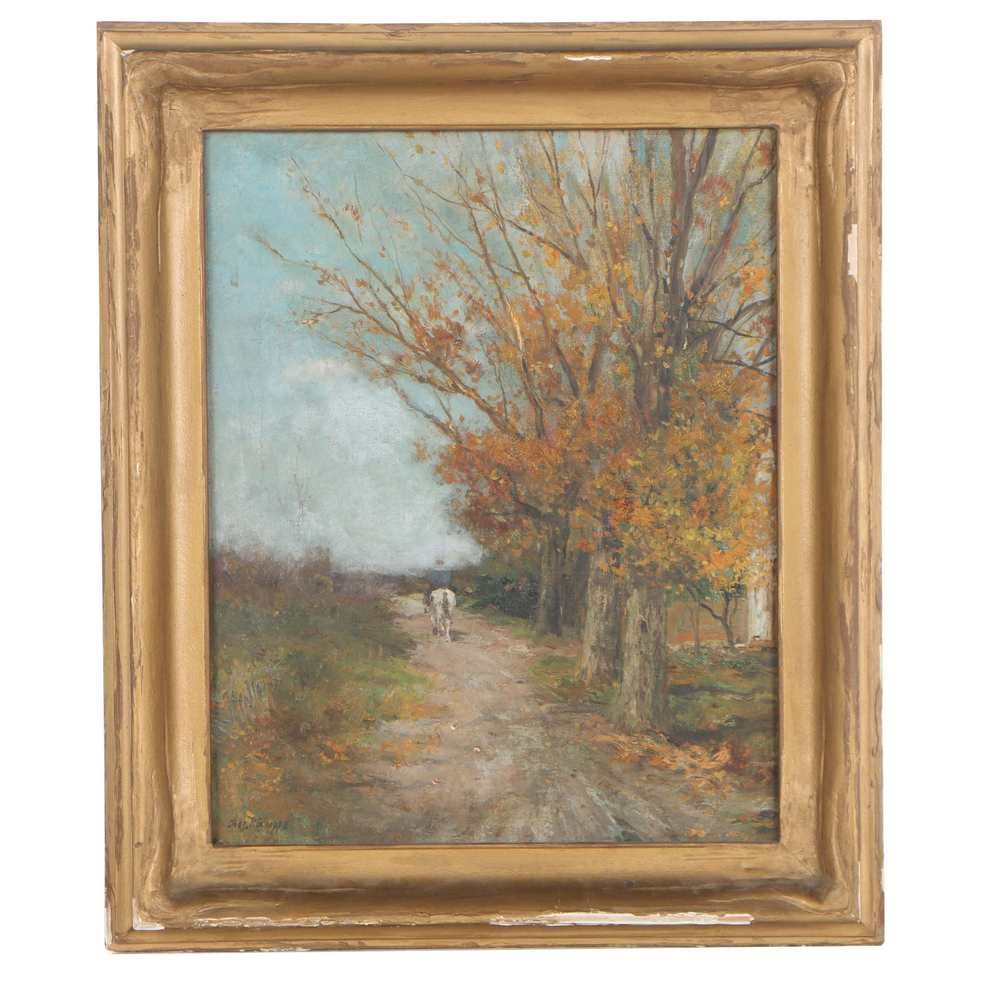 Charles P. Gruppe Early 20th Century Oil Painting on Canvas